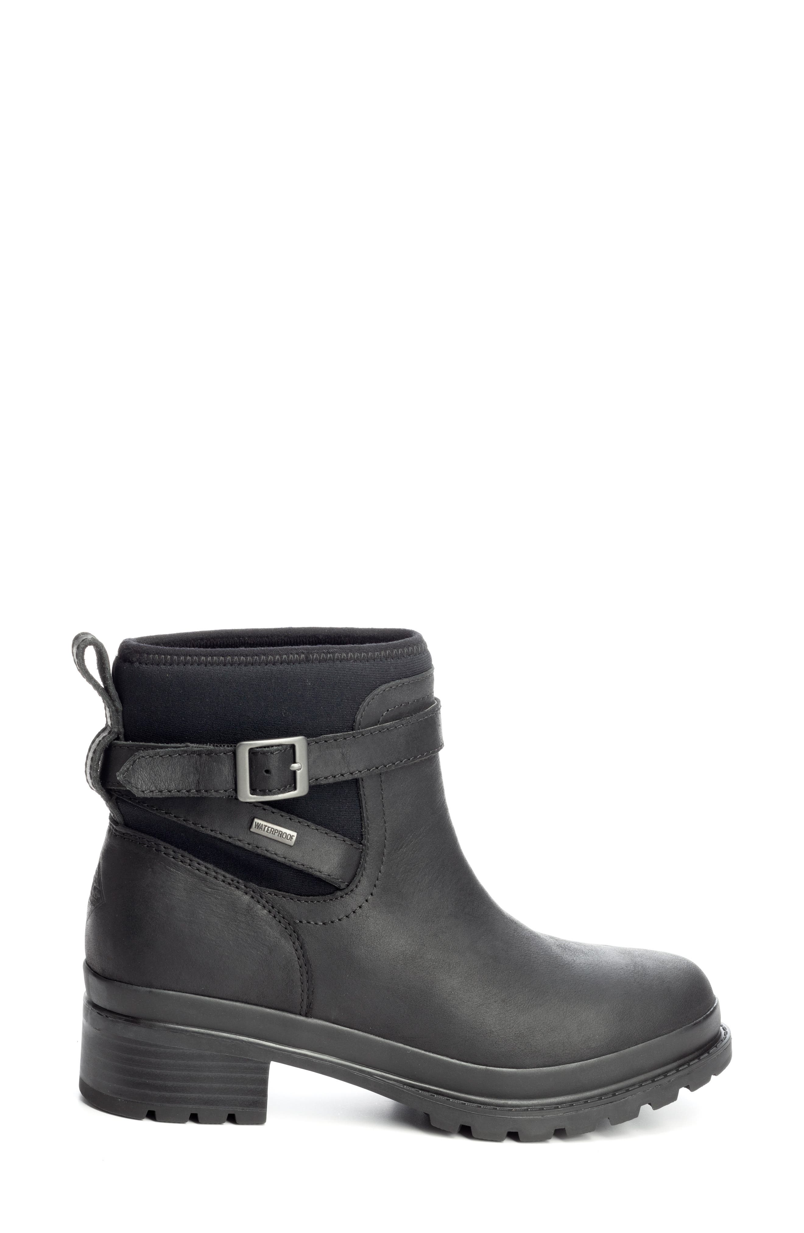 THE ORIGINAL MUCK BOOT COMPANY, Liberty Waterproof Boot, Alternate thumbnail 3, color, BLACK LEATHER