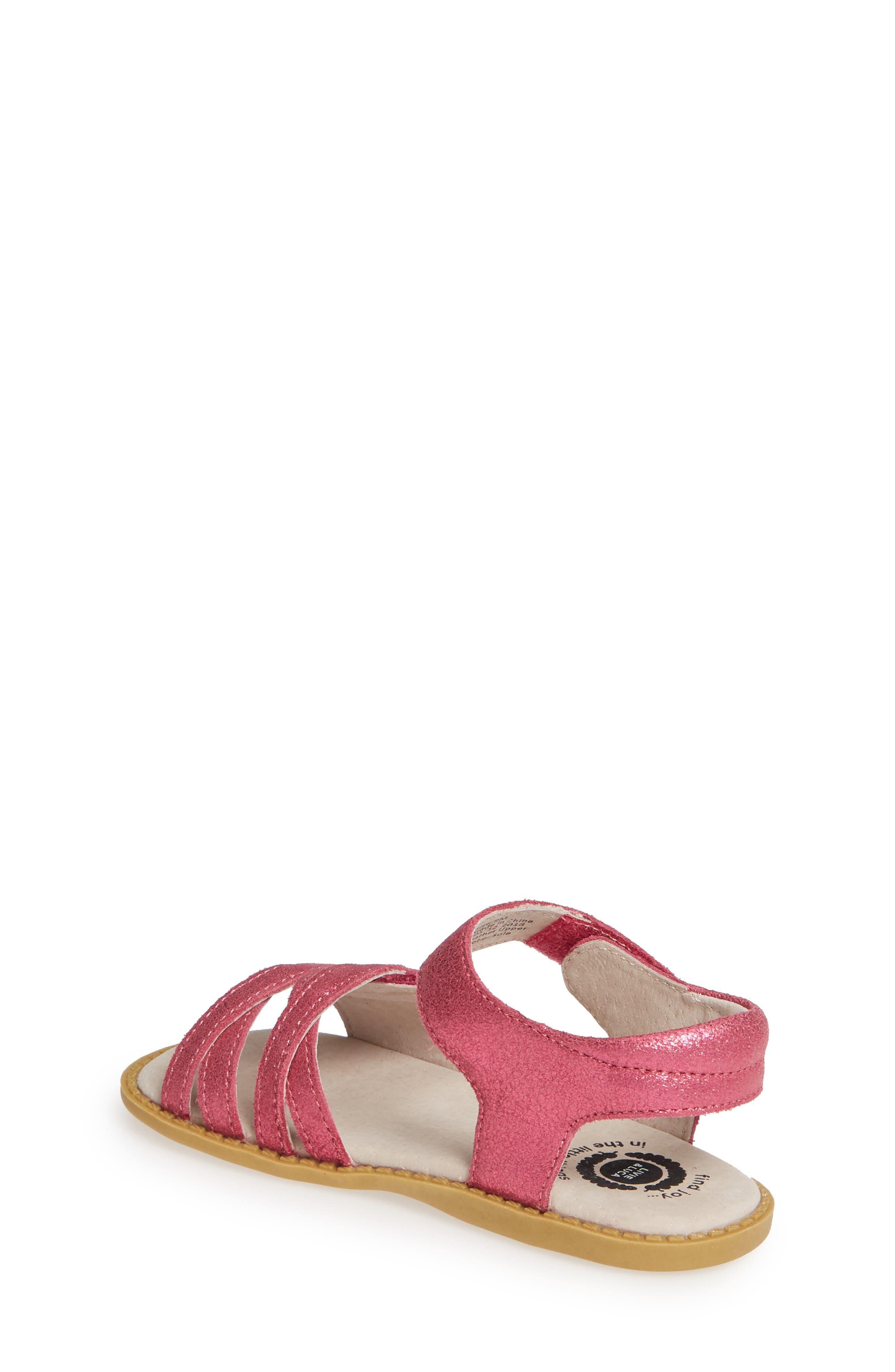 LIVIE & LUCA, 'Athena' Sandal, Alternate thumbnail 2, color, MAGENTA SHIMMER