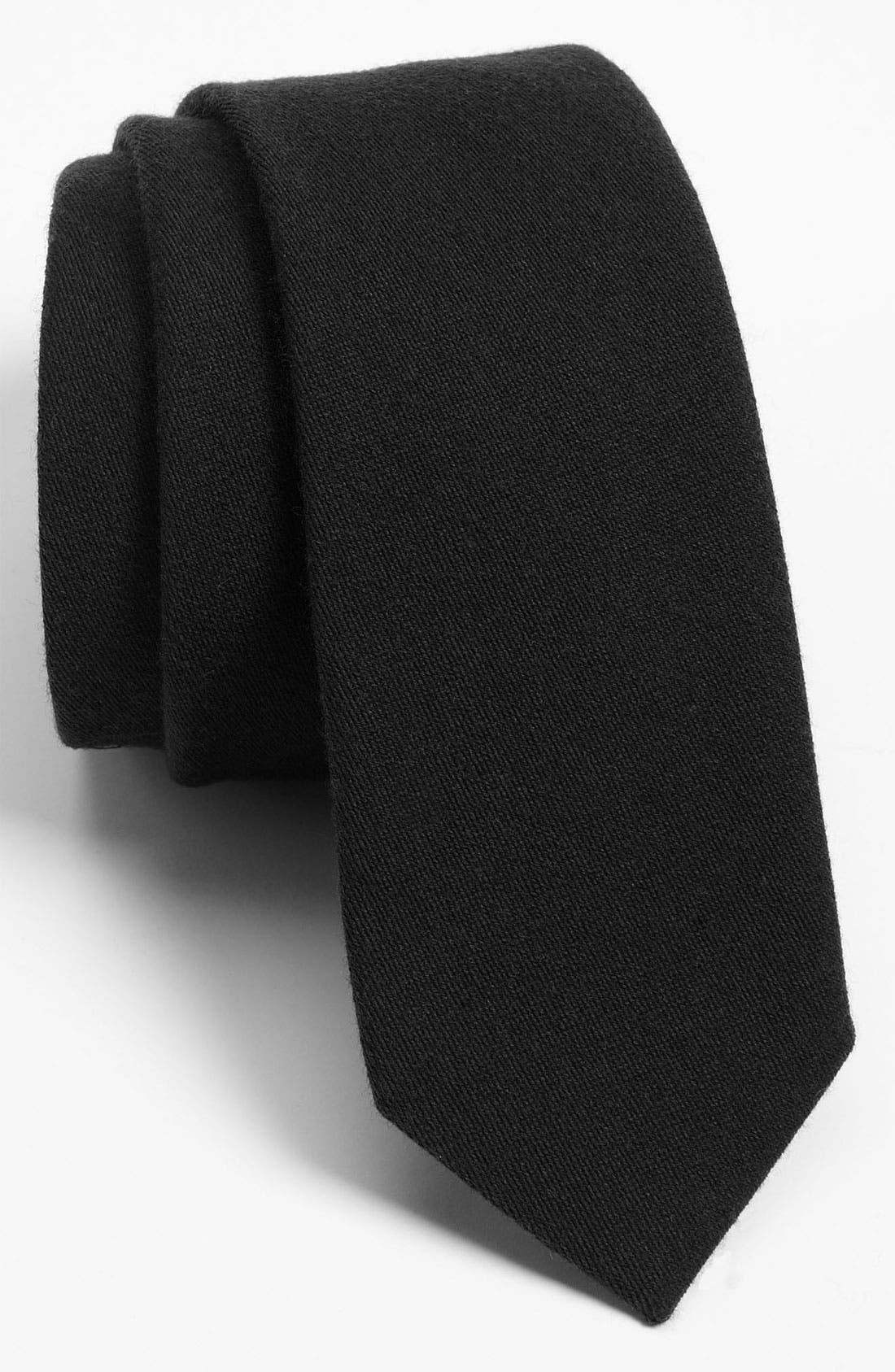 THE TIE BAR Solid Wool Blend Skinny Tie, Main, color, BLACK