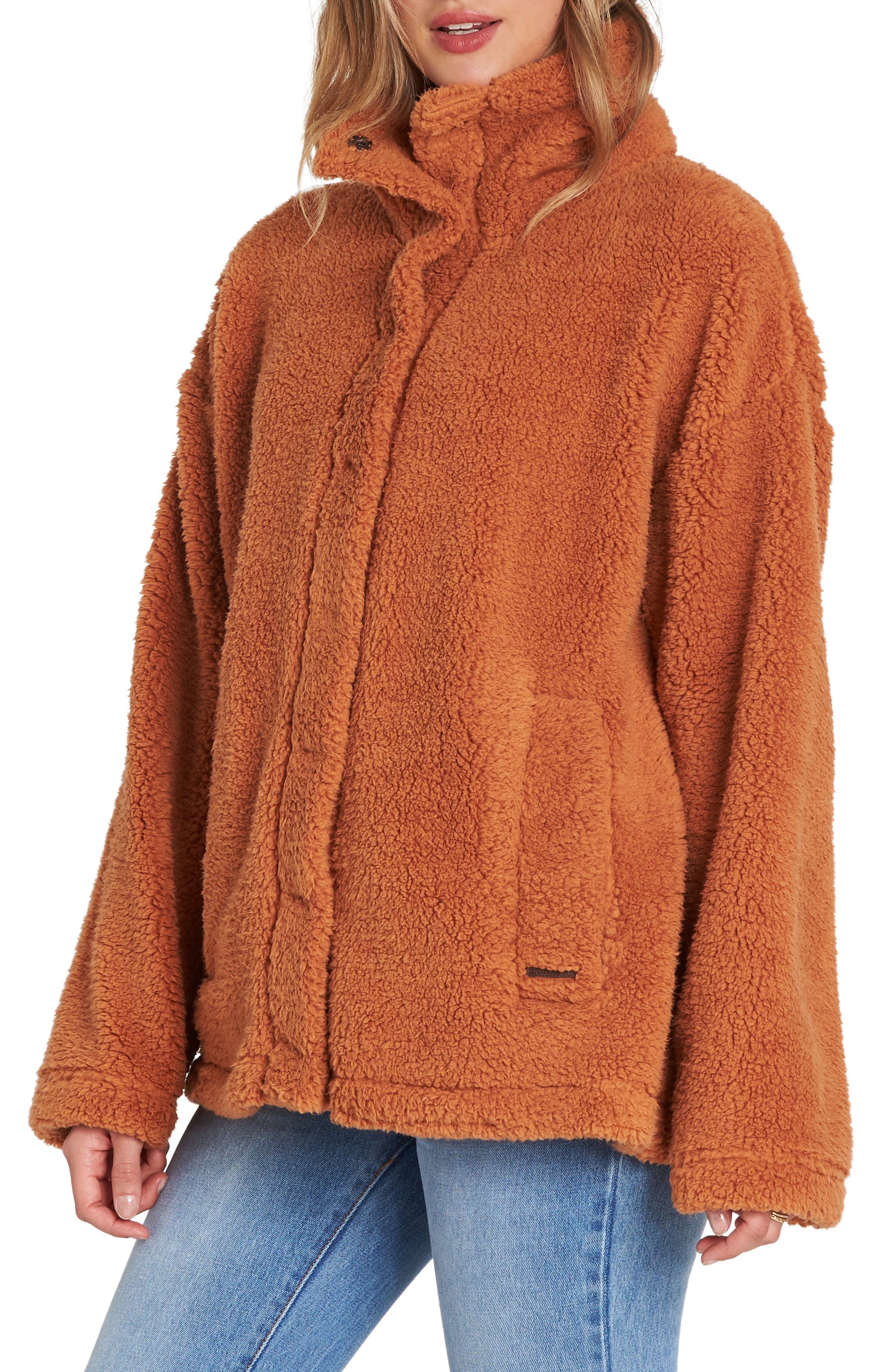 BILLABONG, Cozy Days Faux Fur Jacket, Alternate thumbnail 3, color, TOFFEE