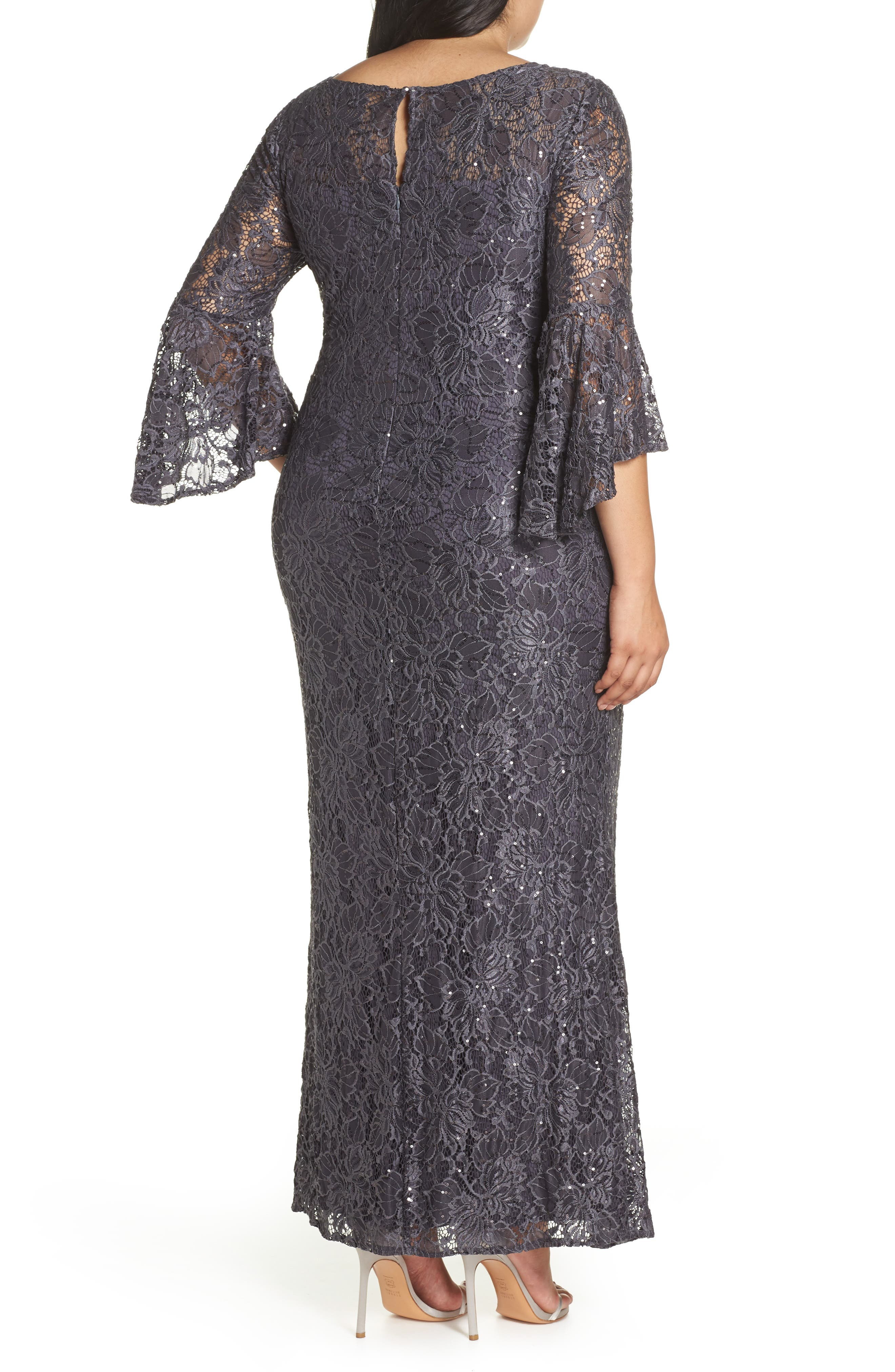 MORGAN & CO., Lace Bell Sleeve Gown, Alternate thumbnail 2, color, CHARCOAL
