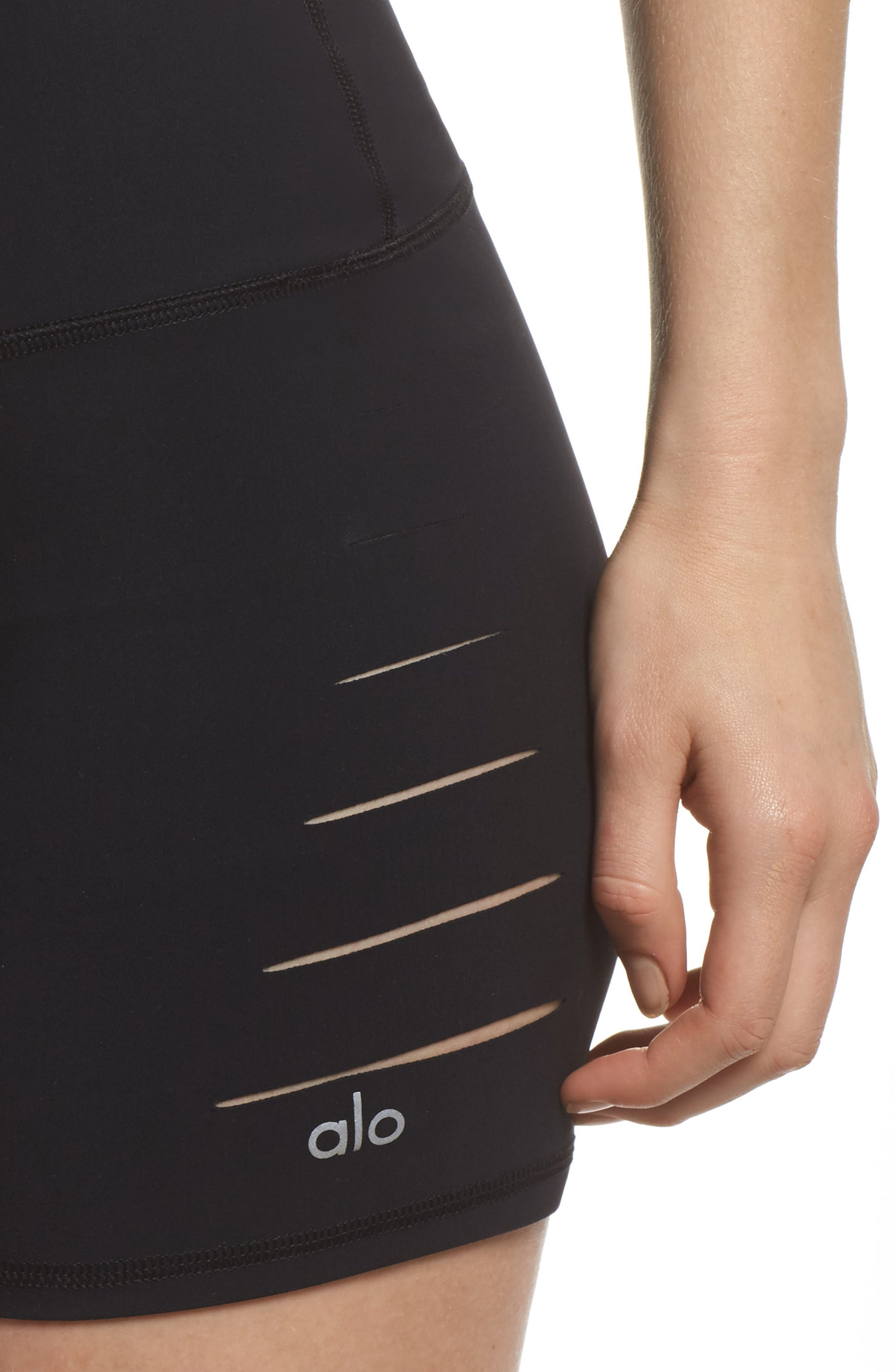 ALO, Ripped High Waist Shorts, Alternate thumbnail 4, color, BLACK