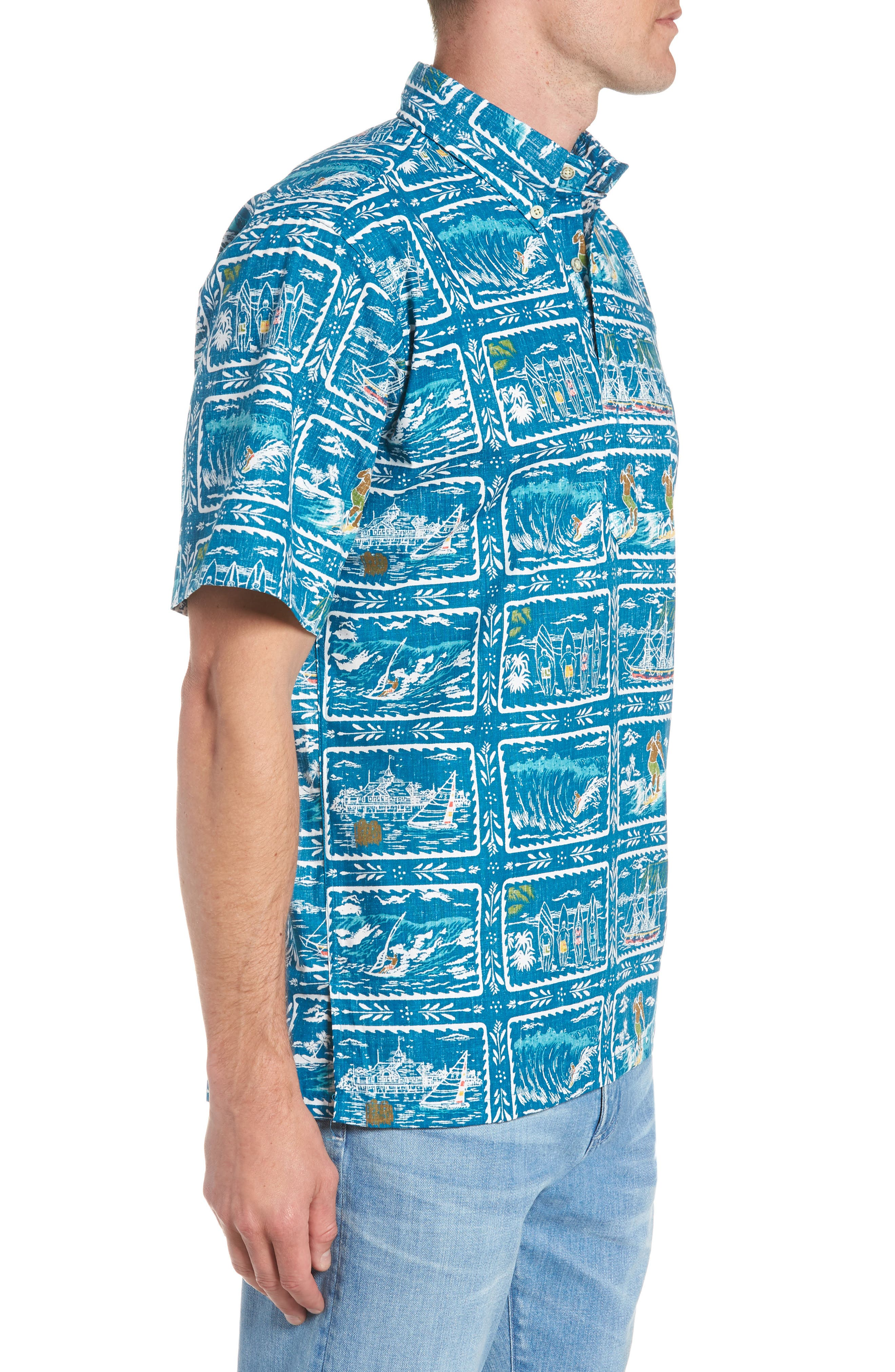 REYN SPOONER, Hawaiian Sports Classic Fit Pullover Sport Shirt, Alternate thumbnail 4, color, BLUE