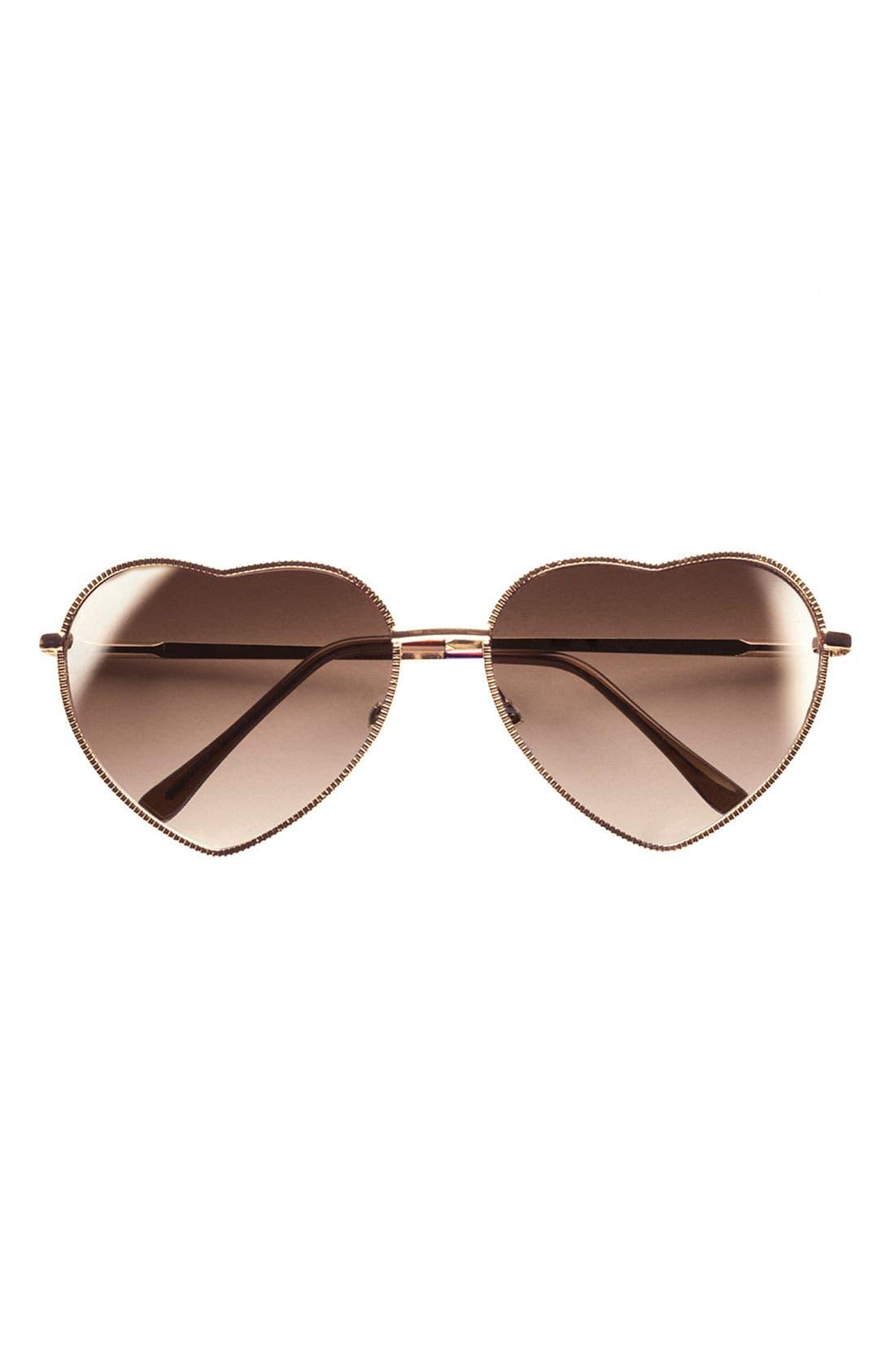 BP., Heart Shaped 58mm Sunglasses, Alternate thumbnail 7, color, GOLD/ BROWN