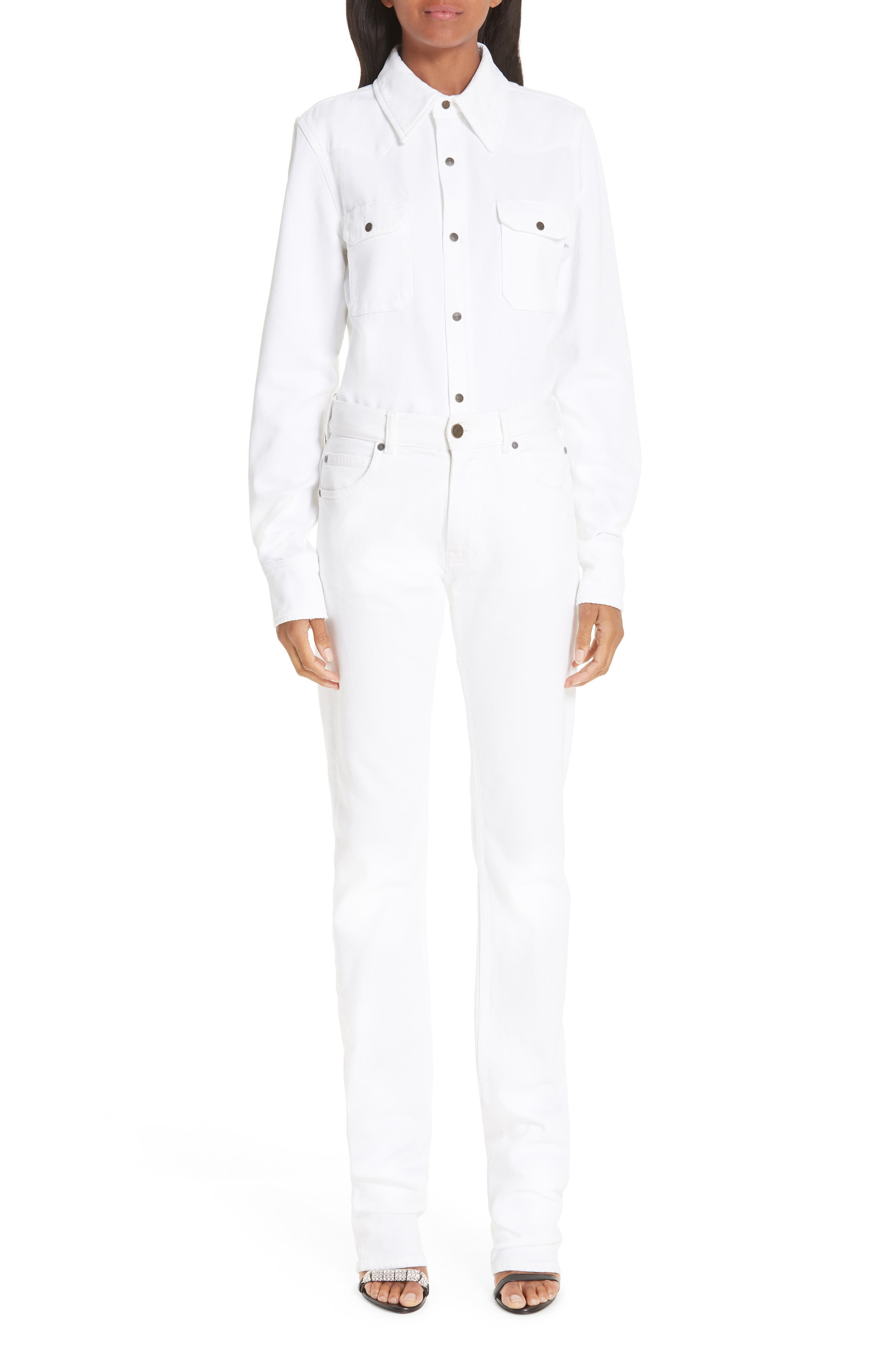 CALVIN KLEIN 205W39NYC, Denim Shirt, Alternate thumbnail 8, color, OPTIC WHITE