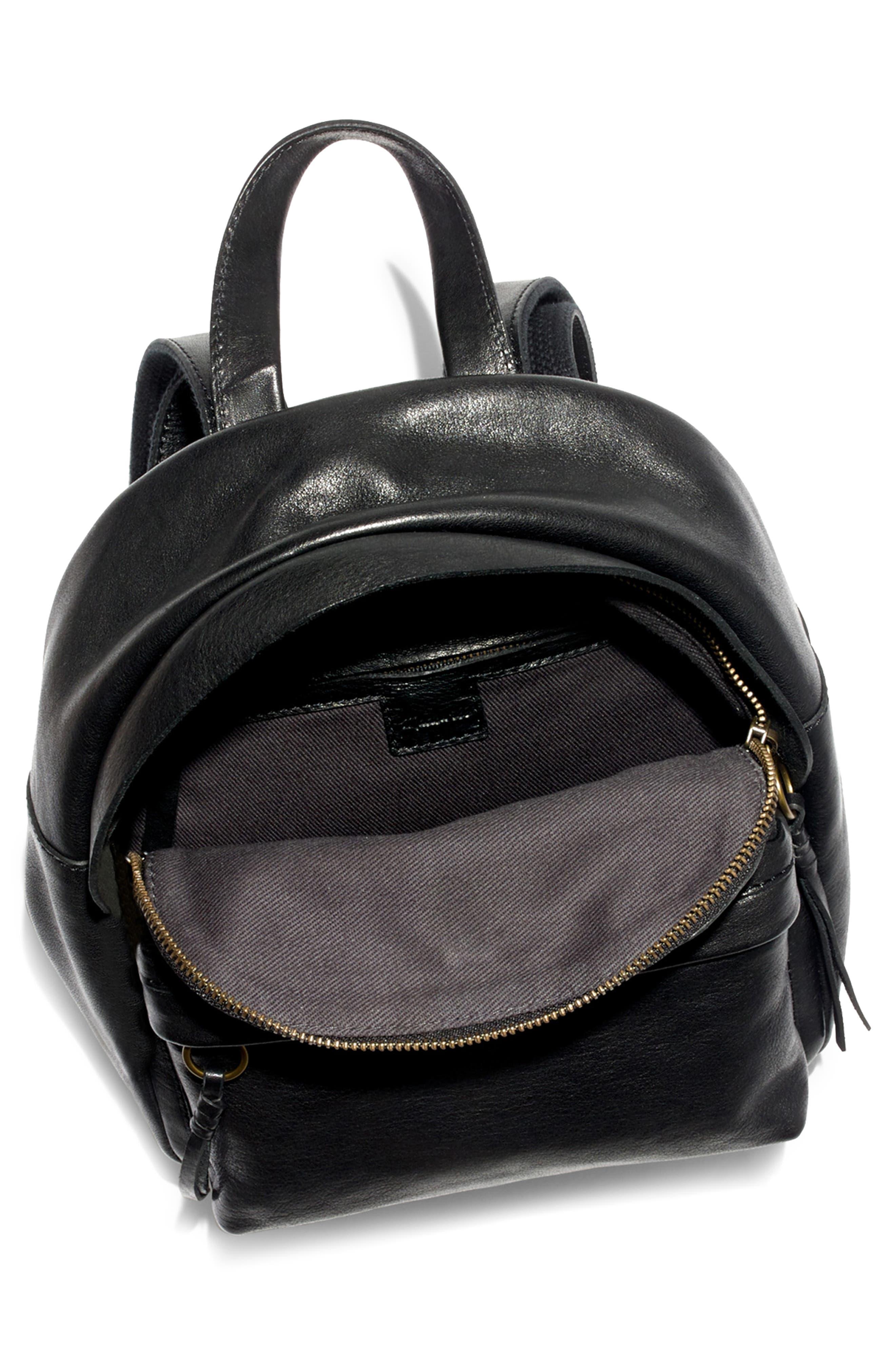 MADEWELL, Mini Lorimer Leather Backpack, Alternate thumbnail 5, color, TRUE BLACK
