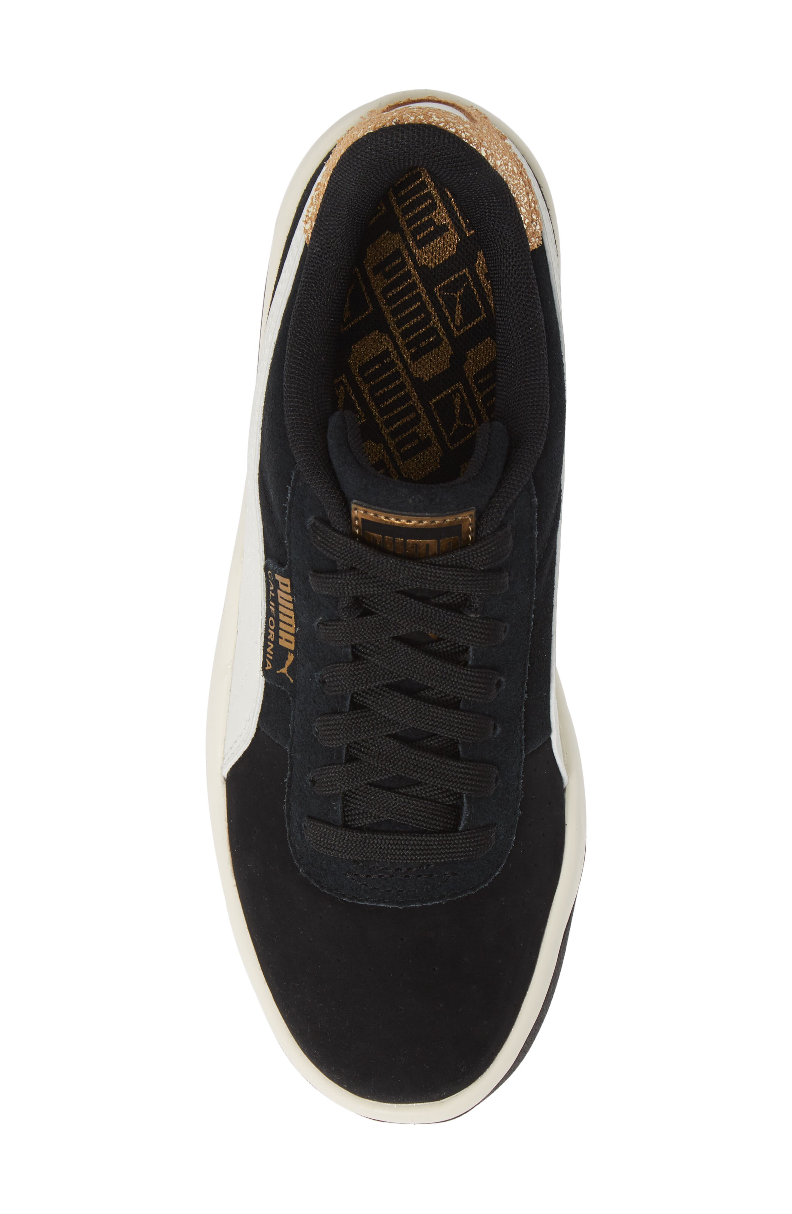PUMA, California Metallic Sneaker, Alternate thumbnail 5, color, BLACK/ WHITE/ METALLIC BRONZE