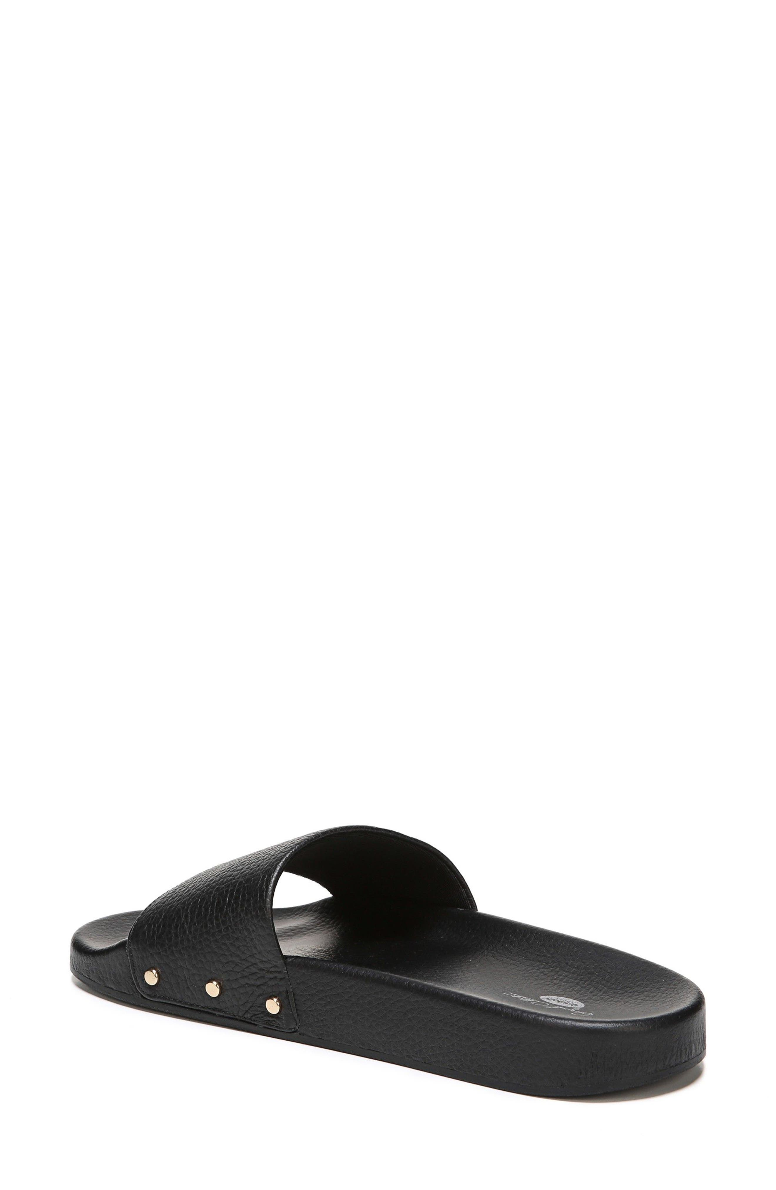 DR. SCHOLL'S, Pisces Slide Sandal, Alternate thumbnail 2, color, BLACK LEATHER