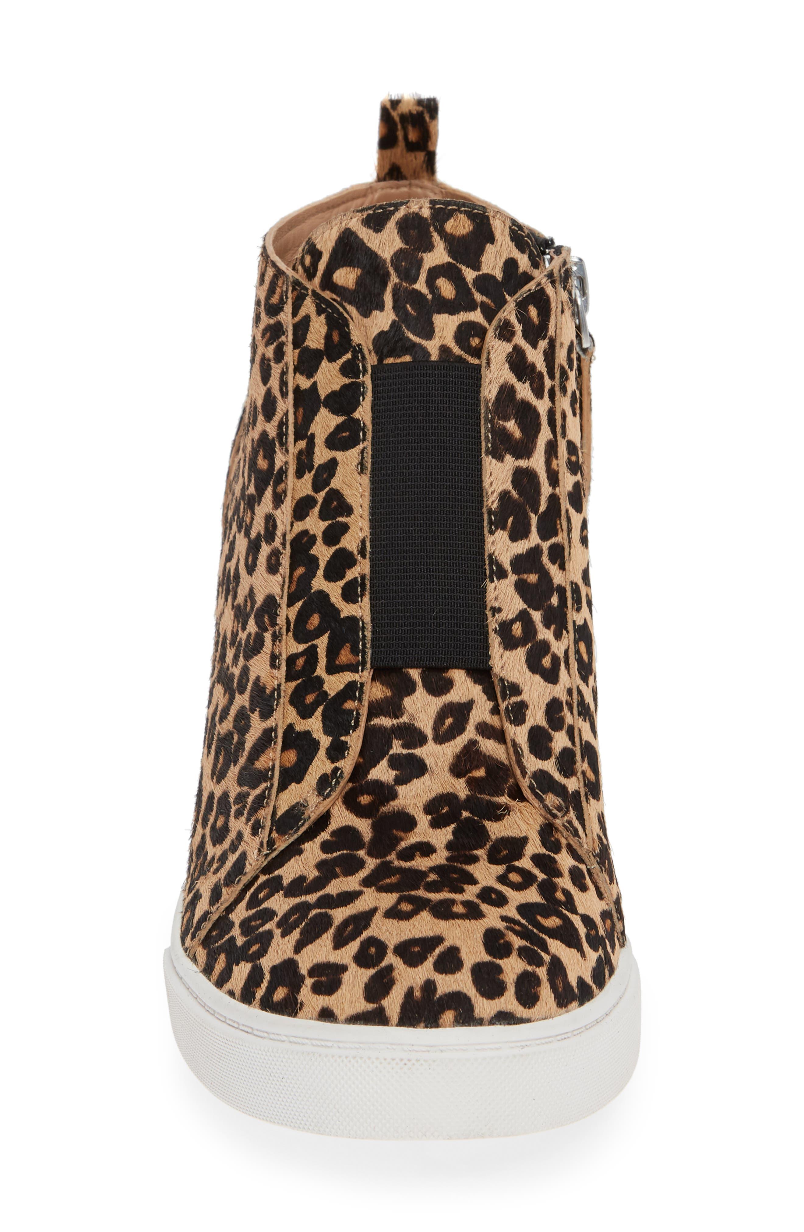 LINEA PAOLO, Felicia III Genuine Calf Hair Wedge Sneaker, Alternate thumbnail 4, color, LEOPARD PRINT HAIR CALF