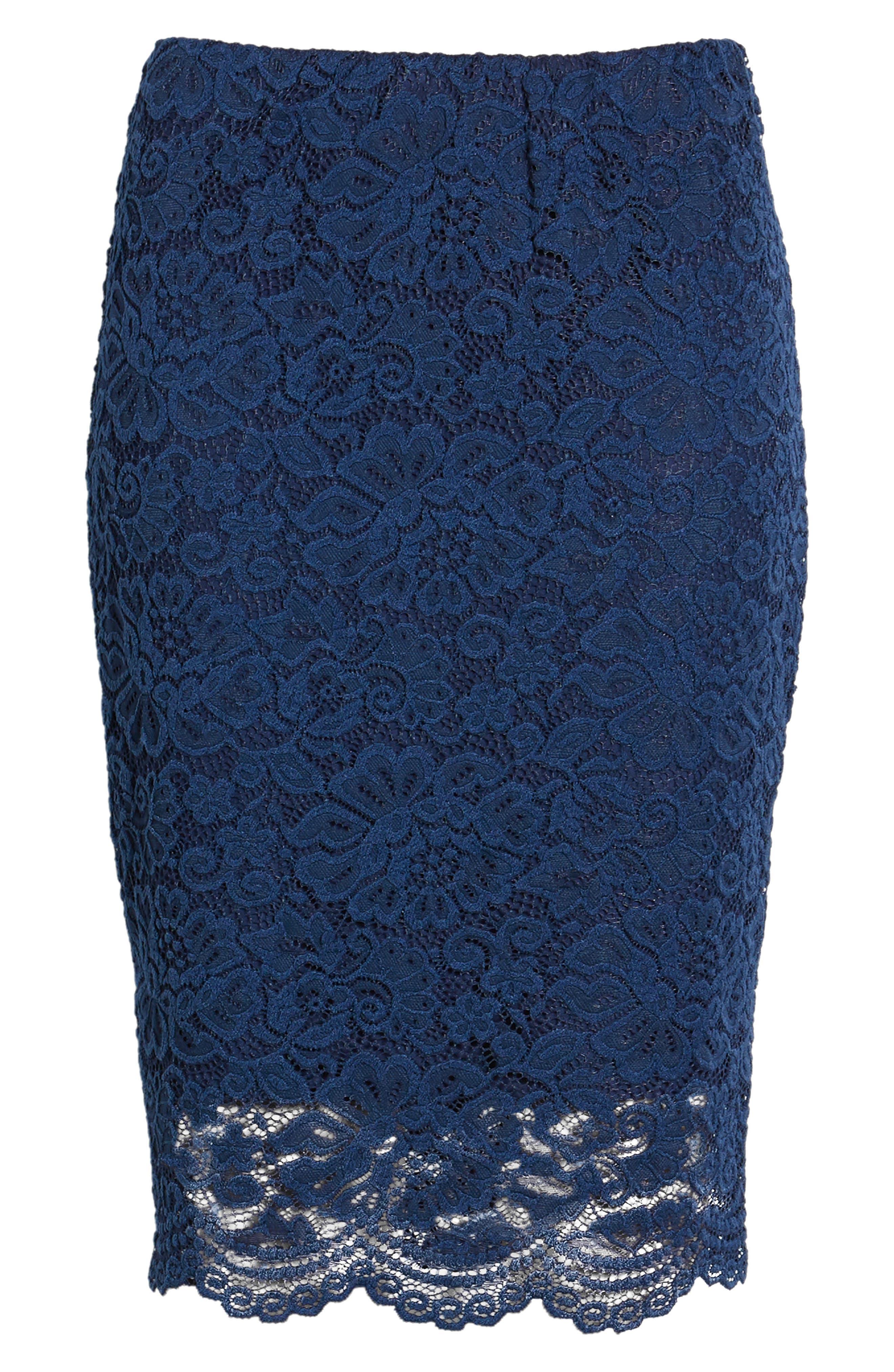 ROSEMUNDE, Filippa Scalloped Lace Skirt, Alternate thumbnail 6, color, NAVY PEONY