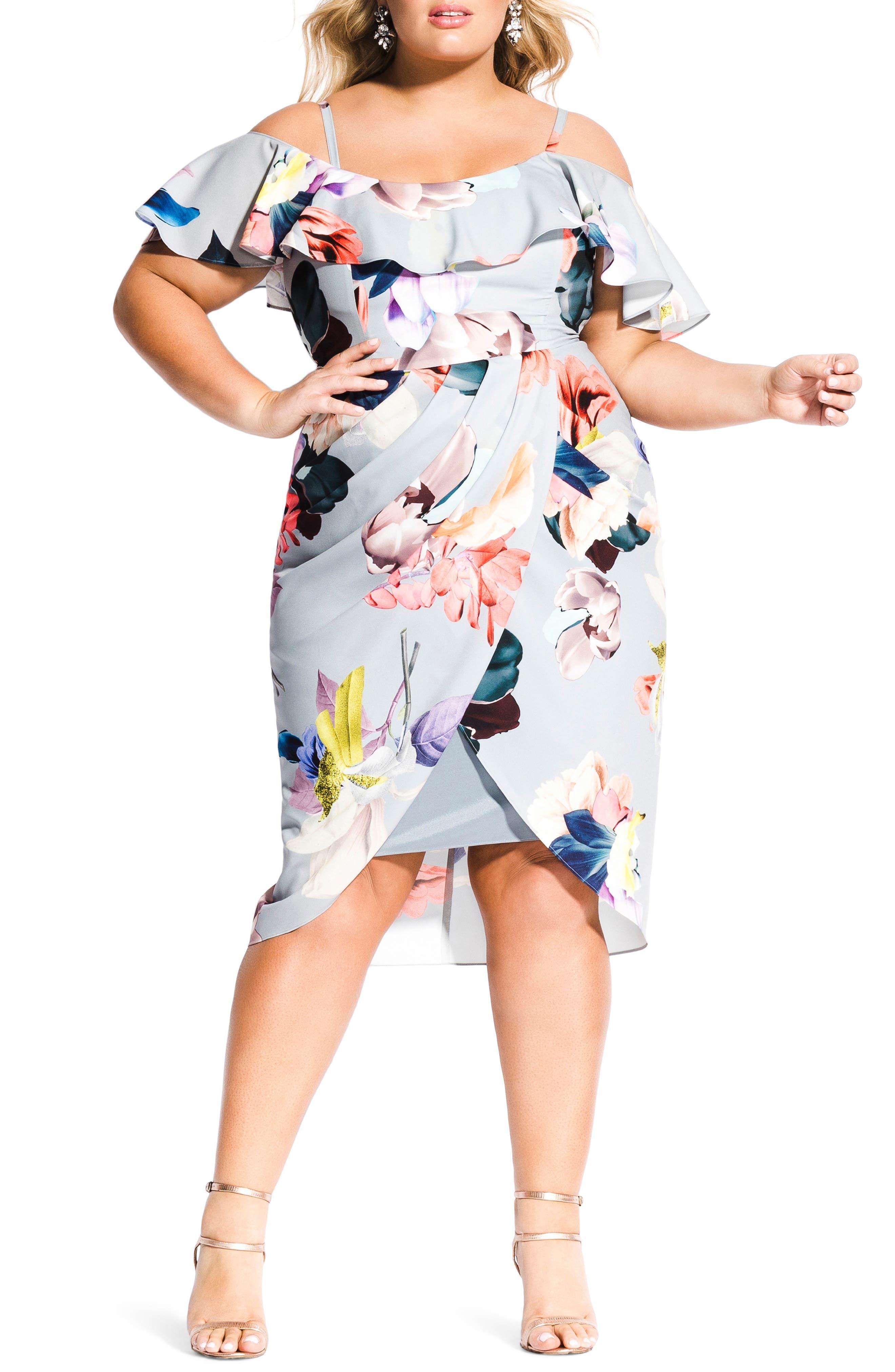 CITY CHIC, Contempo Cold Shoulder Floral Dress, Main thumbnail 1, color, CONTEMPORARY FL