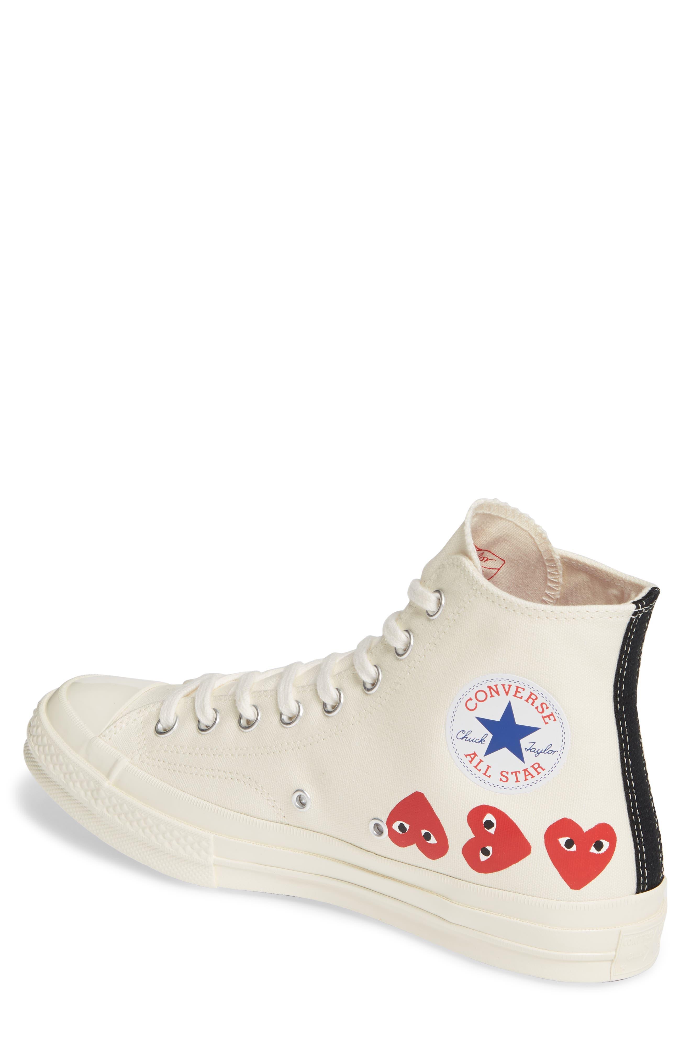 COMME DES GARÇONS PLAY, Multiheart Sneaker, Alternate thumbnail 2, color, OFF WHITE