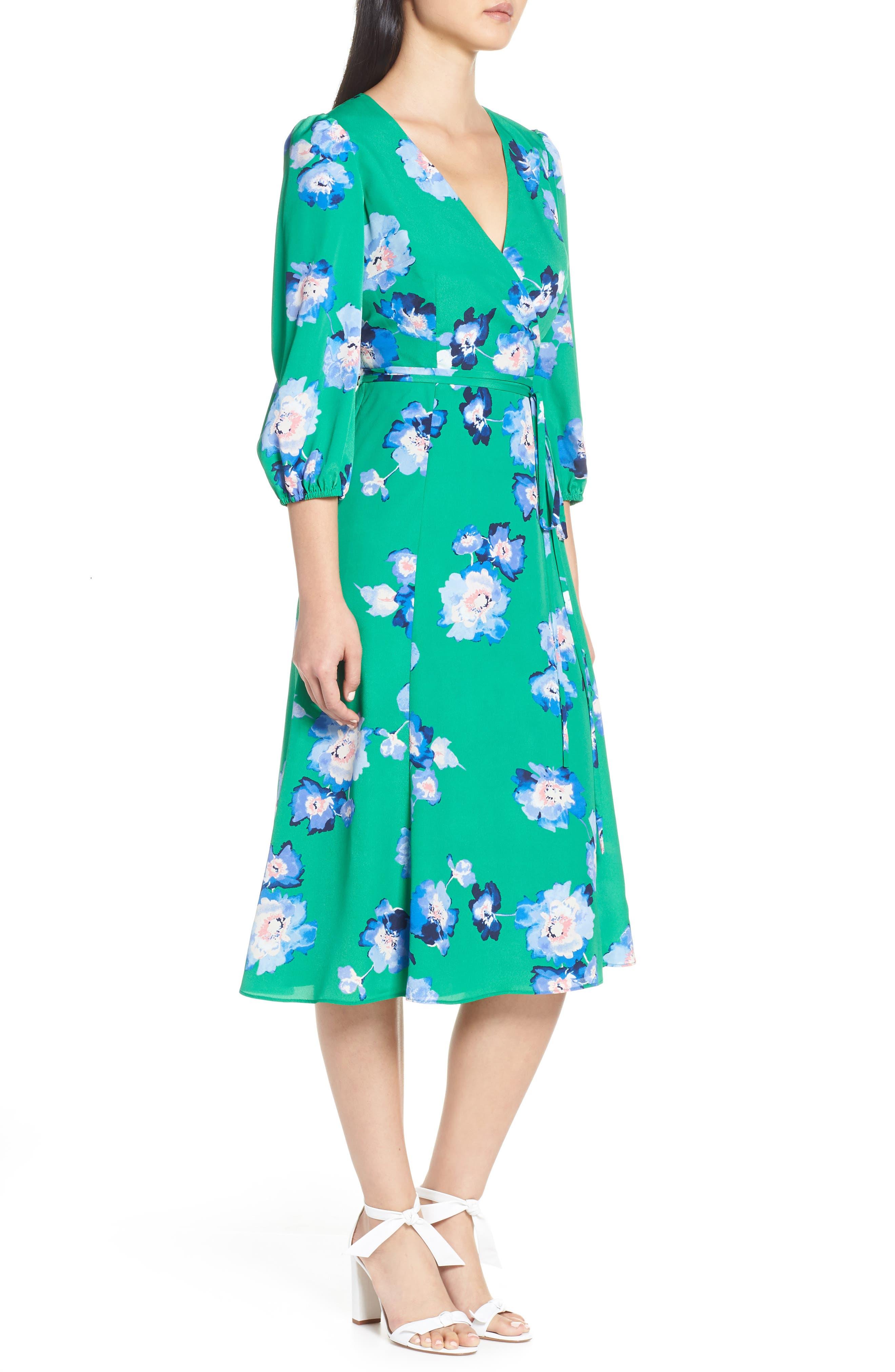 ELIZA J, Blouson Sleeve Wrap Midi Dress, Alternate thumbnail 4, color, GREEN
