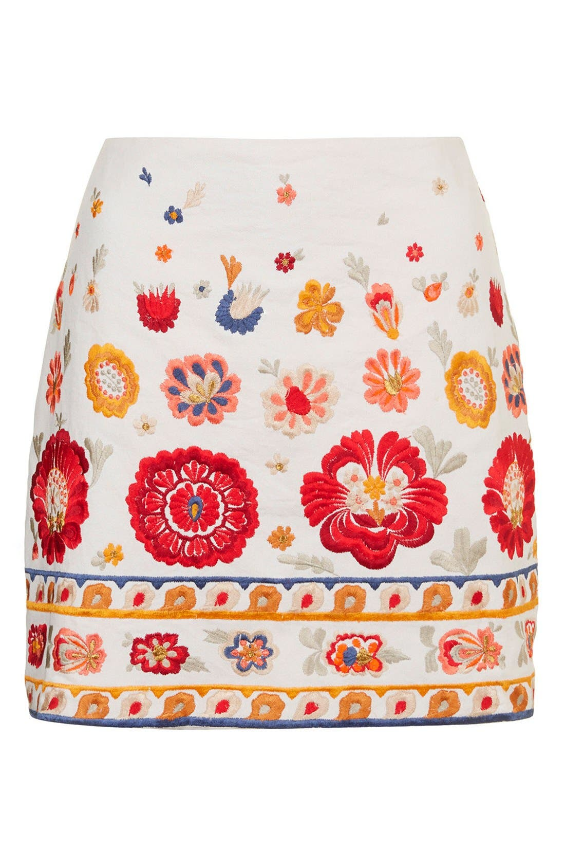 TOPSHOP, 'Troubadour' Embroidered Miniskirt, Alternate thumbnail 4, color, 900