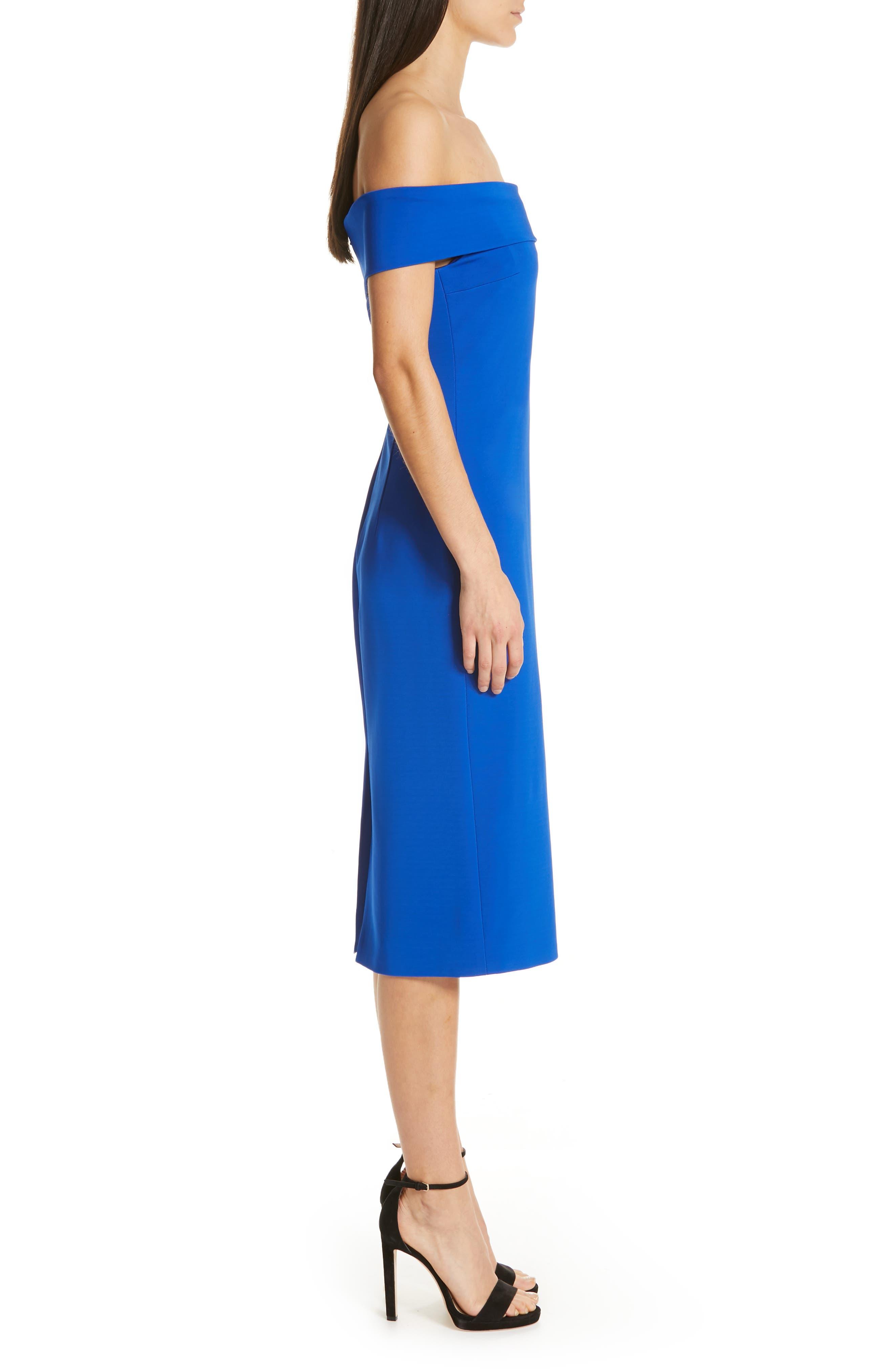 CUSHNIE, Off the Shoulder Pencil Dress, Alternate thumbnail 4, color, LAPIS