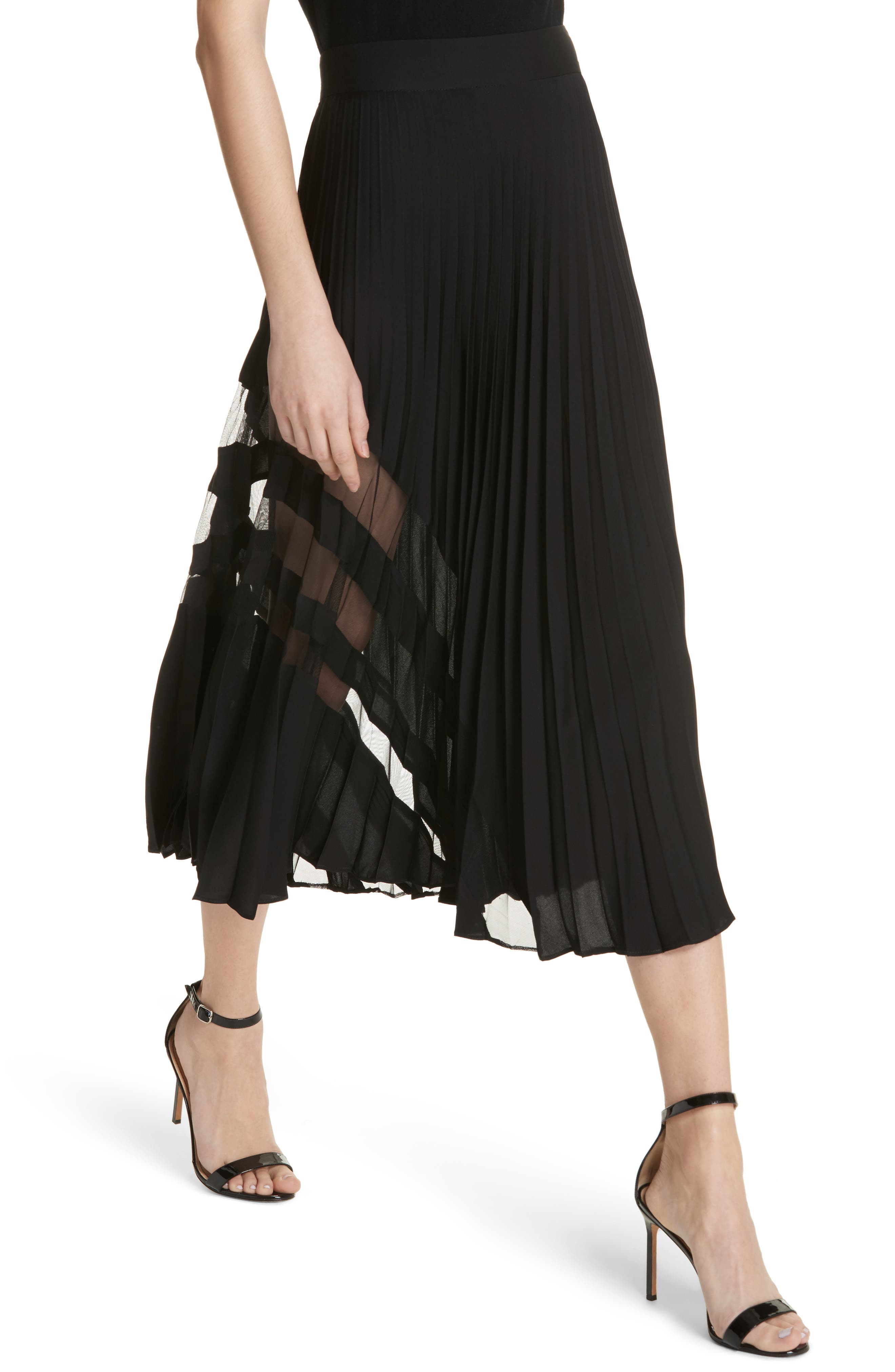 MILLY, Pleated Maxi Skirt, Alternate thumbnail 4, color, 007
