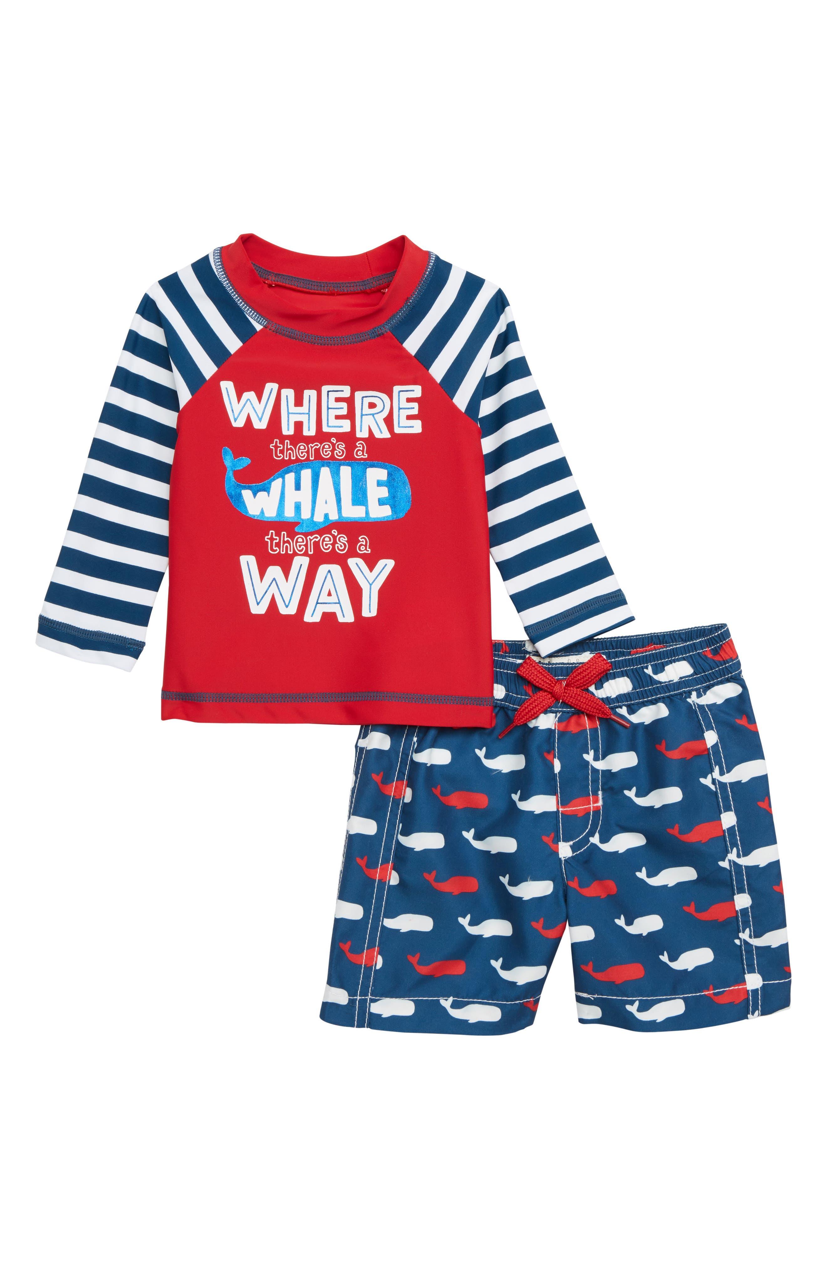 HATLEY Whale Pod Rashguard Set, Main, color, RED