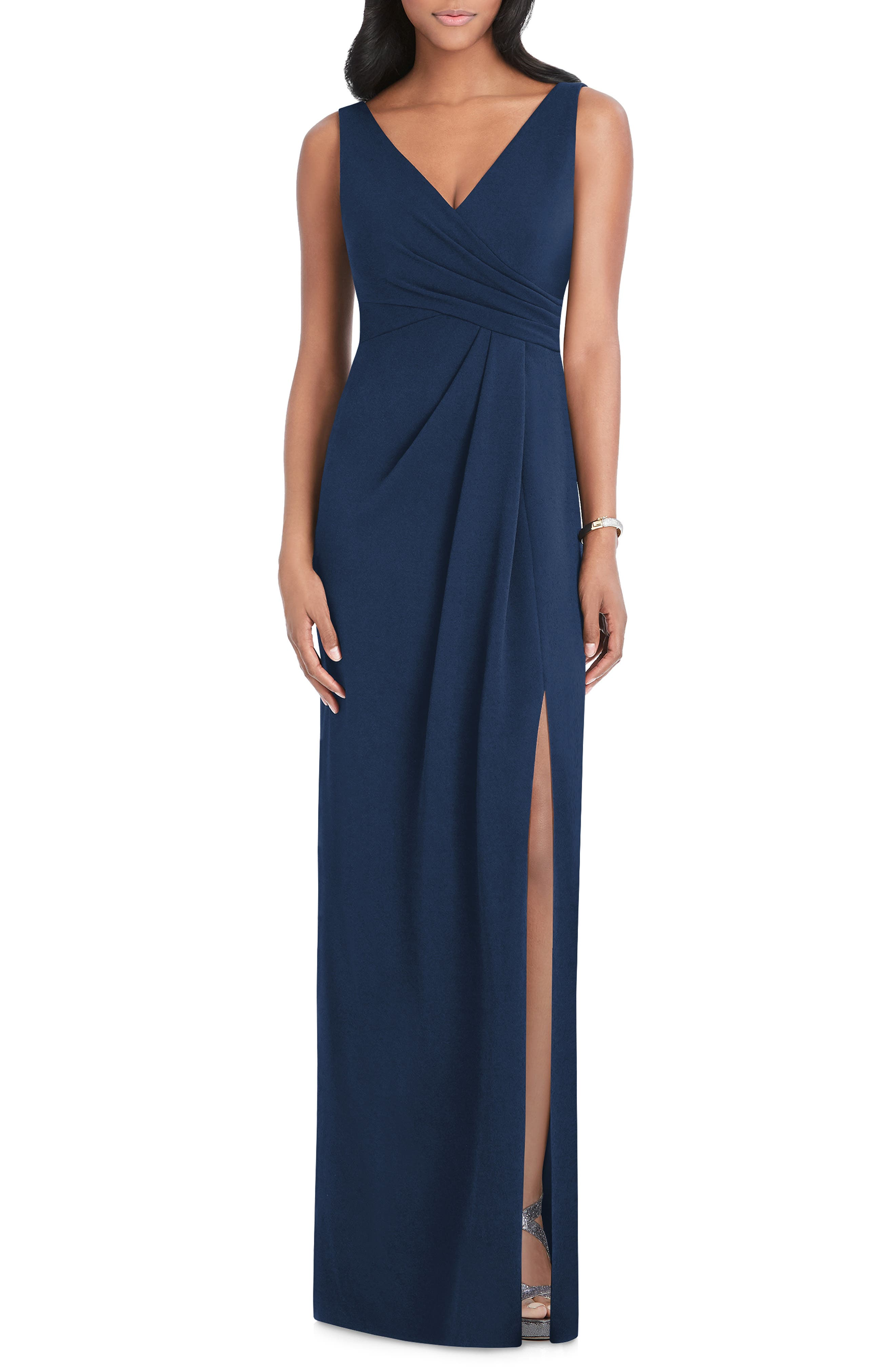 AFTER SIX, Pleated Surplice Stretch Crepe Gown, Main thumbnail 1, color, MIDNIGHT