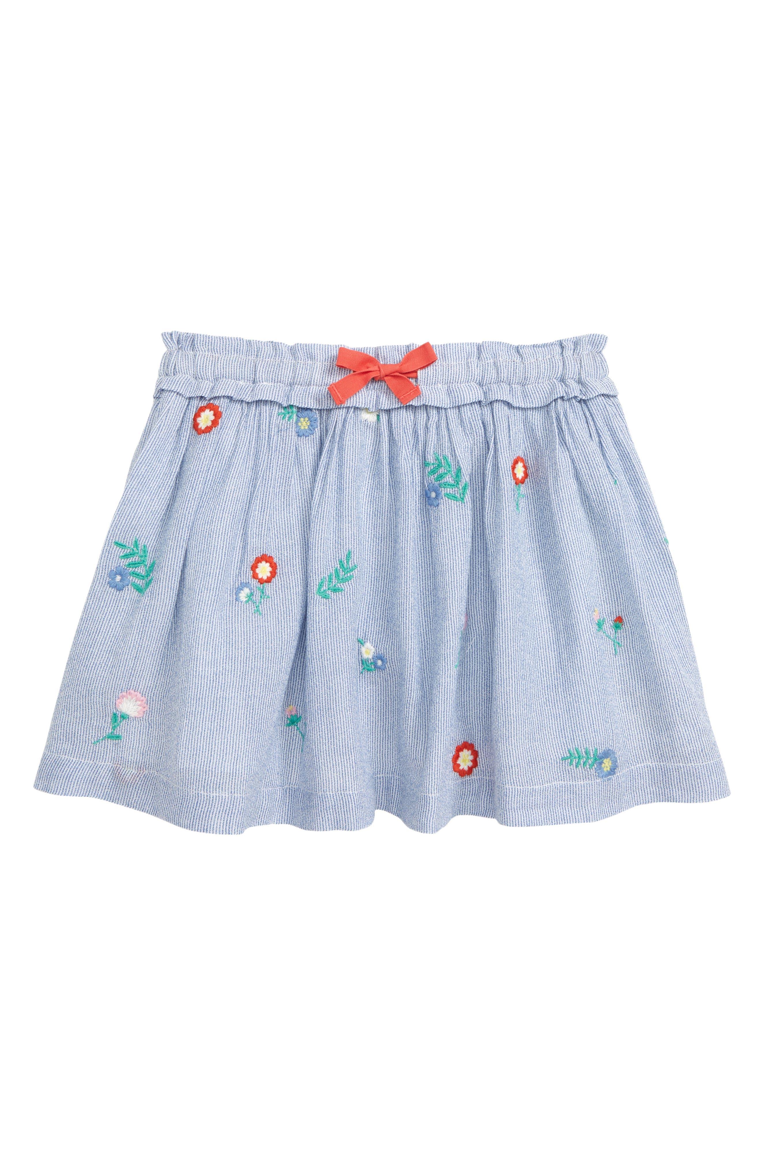 MINI BODEN Boden Appliqué Skirt, Main, color, STR LAKE BLUE TICKING STRIPE
