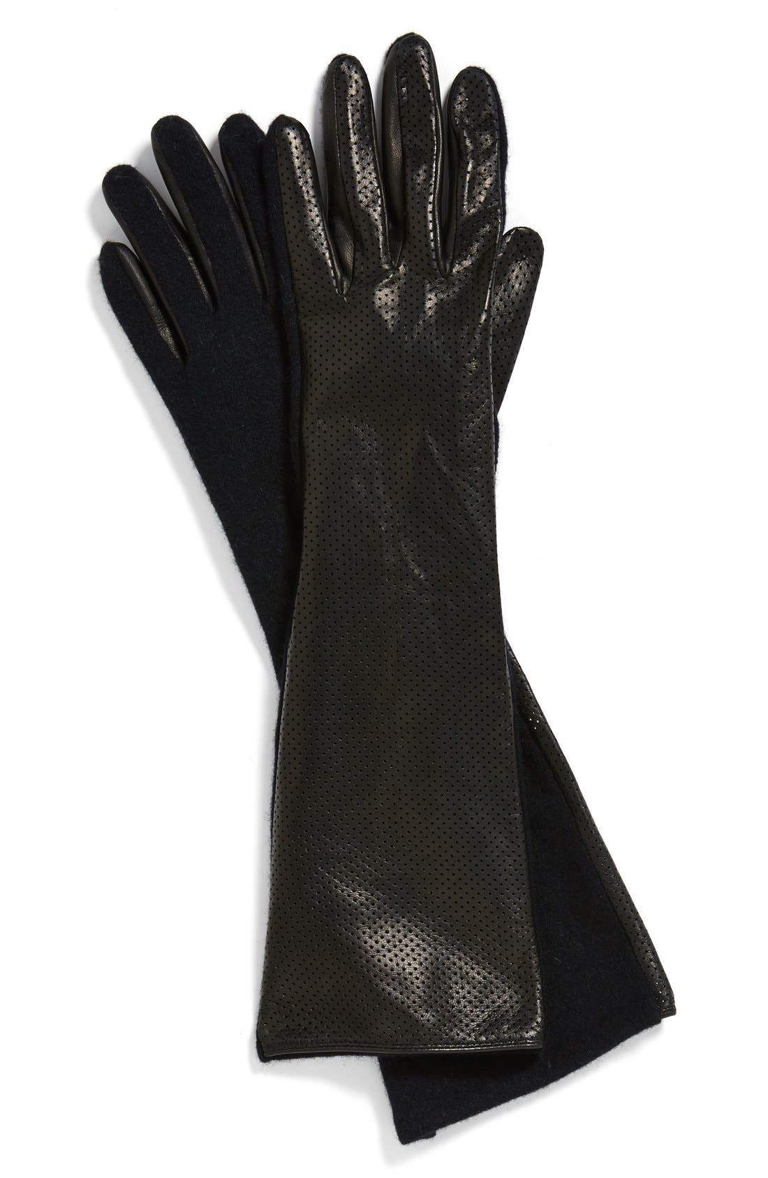 VINCE CAMUTO, Perforated Leather Gloves, Alternate thumbnail 2, color, 001