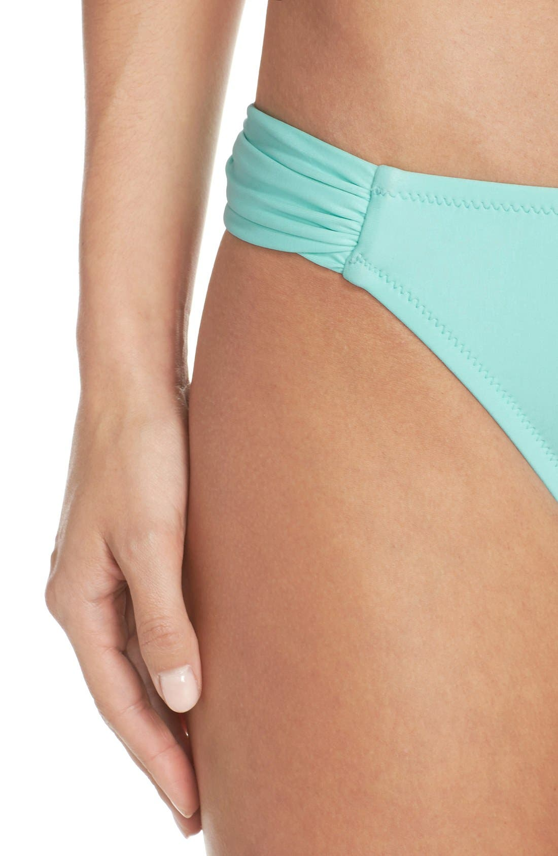BLUSH BY PROFILE, Shirred Bikini Bottoms, Alternate thumbnail 5, color, 440