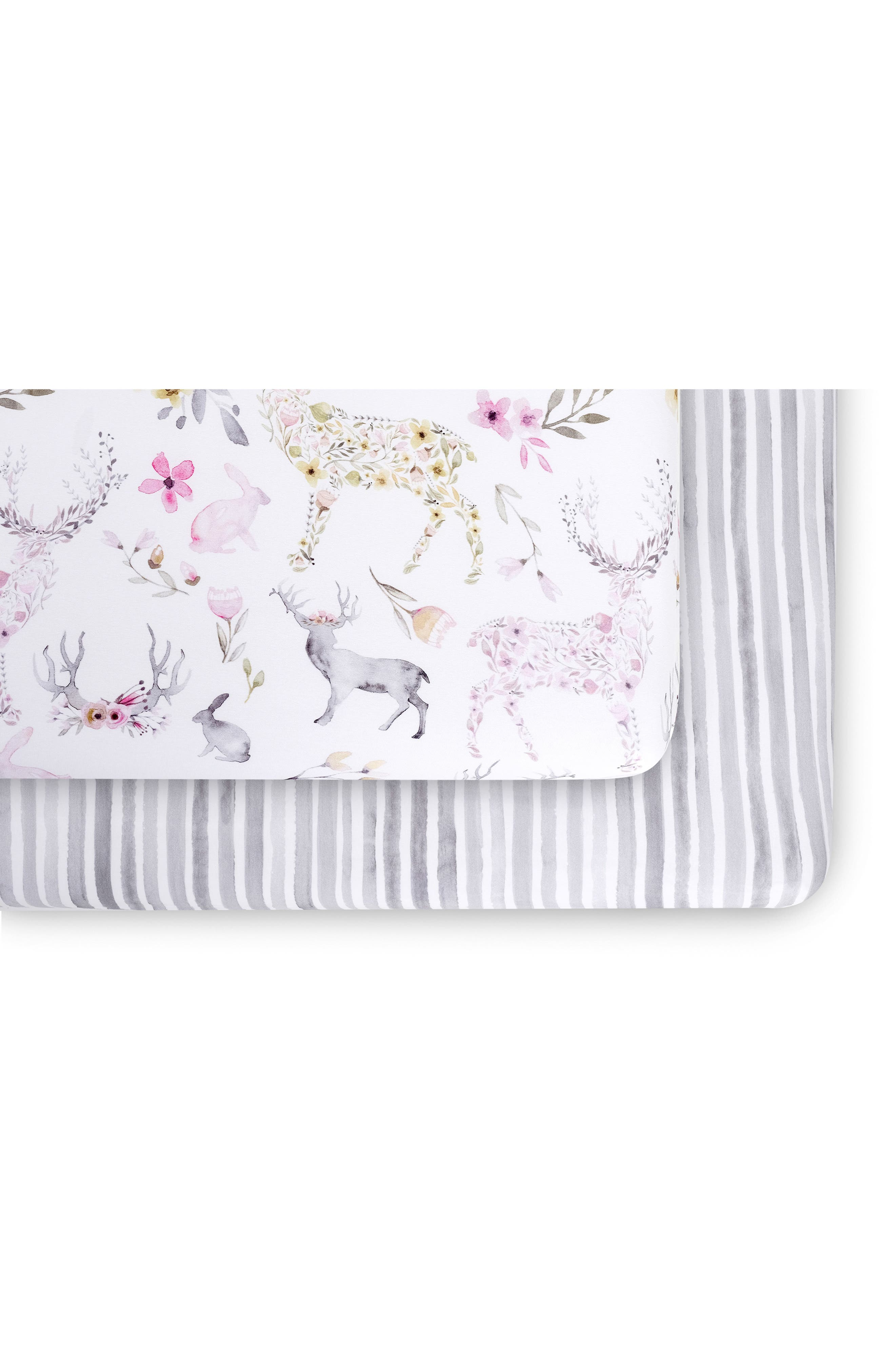 OILO 2-Pack Fitted Crib Sheets, Main, color, STONE FAWN