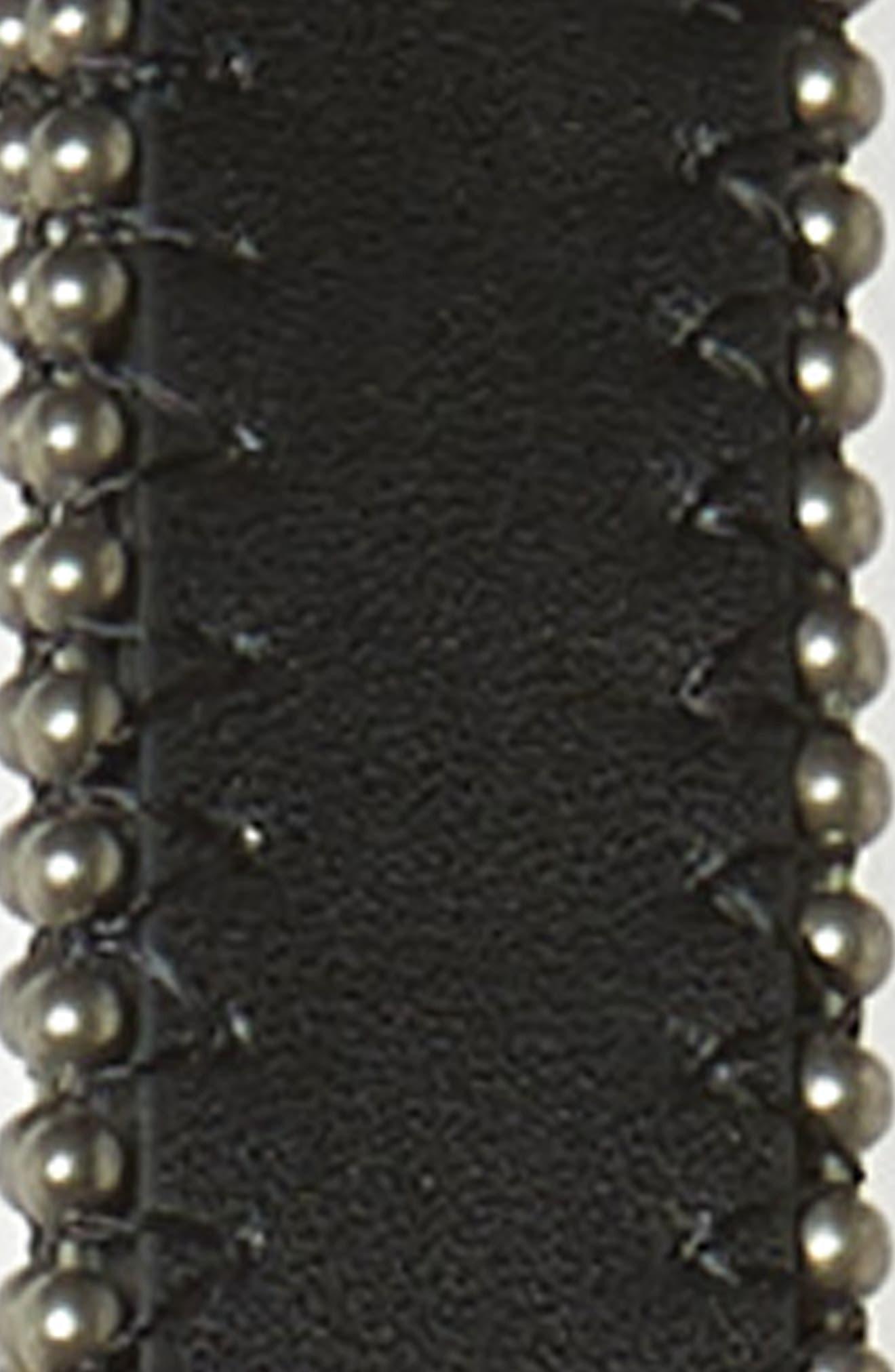 TREASURE & BOND, Studded Faux Leather Skinny Belt, Alternate thumbnail 3, color, BLACK