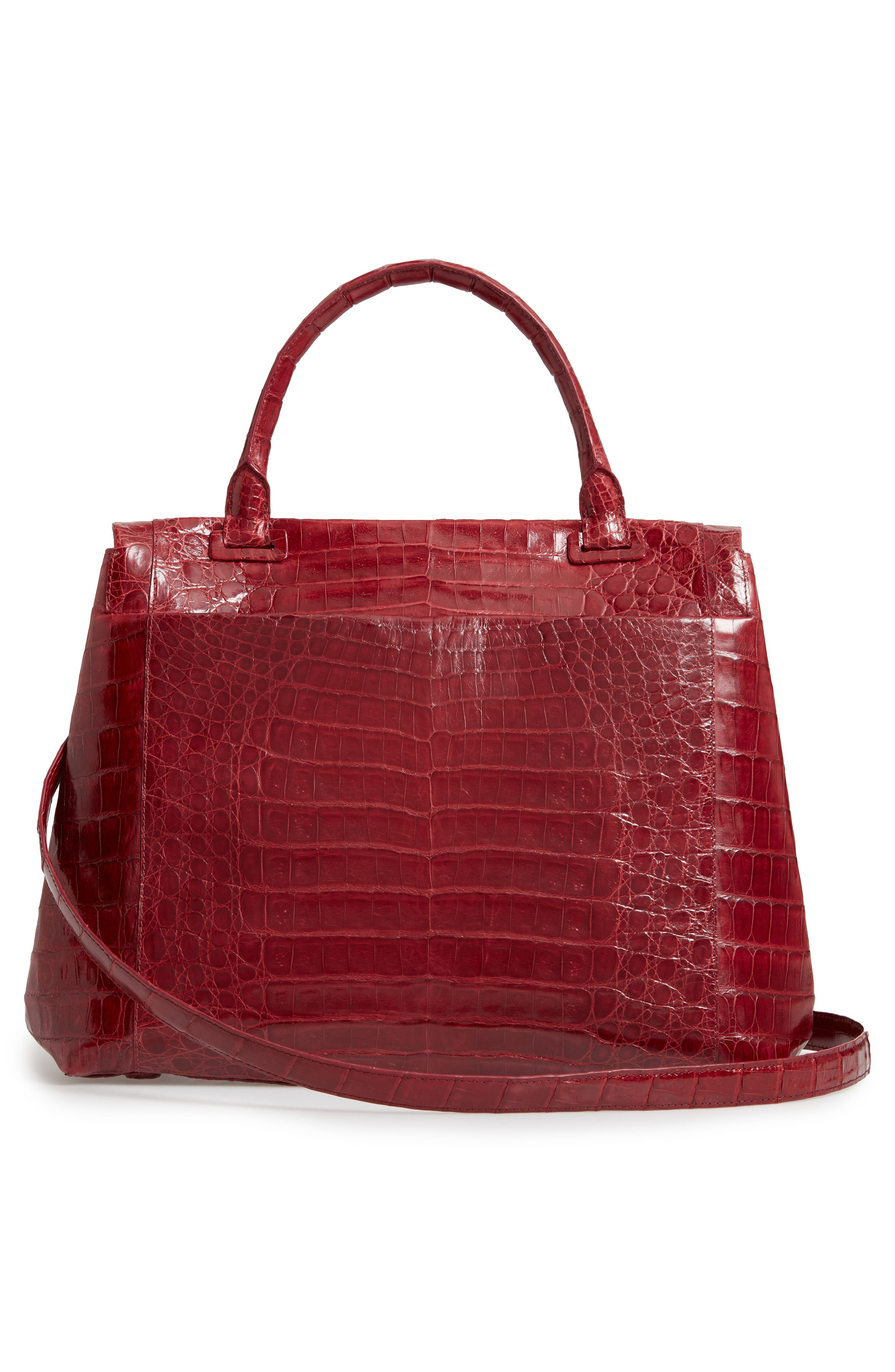 NANCY GONZALEZ, Medium Sophie Genuine Crocodile Top Handle Bag, Alternate thumbnail 3, color, RED SHINY
