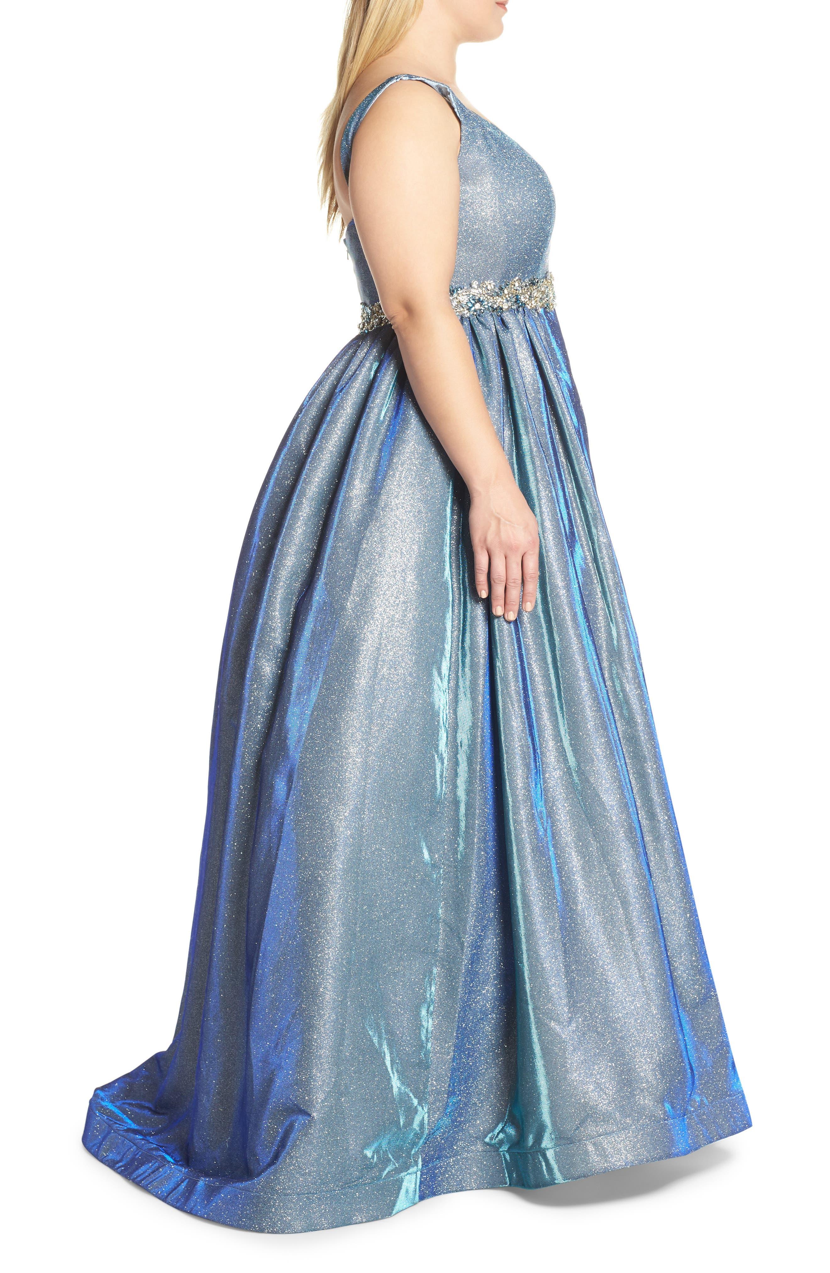 MAC DUGGAL, Jeweled Waist Metallic Evening Dress, Alternate thumbnail 4, color, BLUE