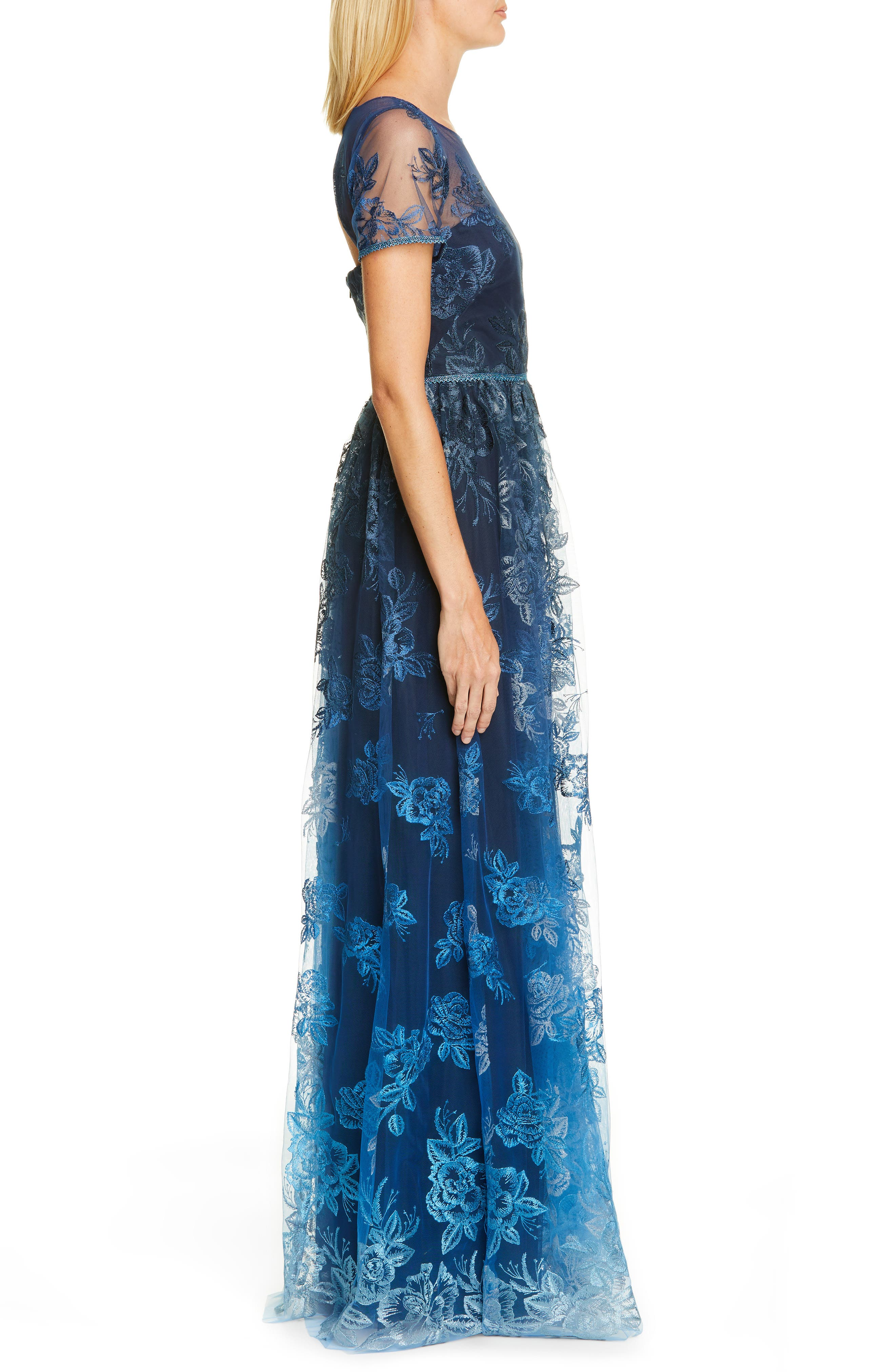 MARCHESA NOTTE, Ombré Embroidered Gown, Alternate thumbnail 4, color, NAVY