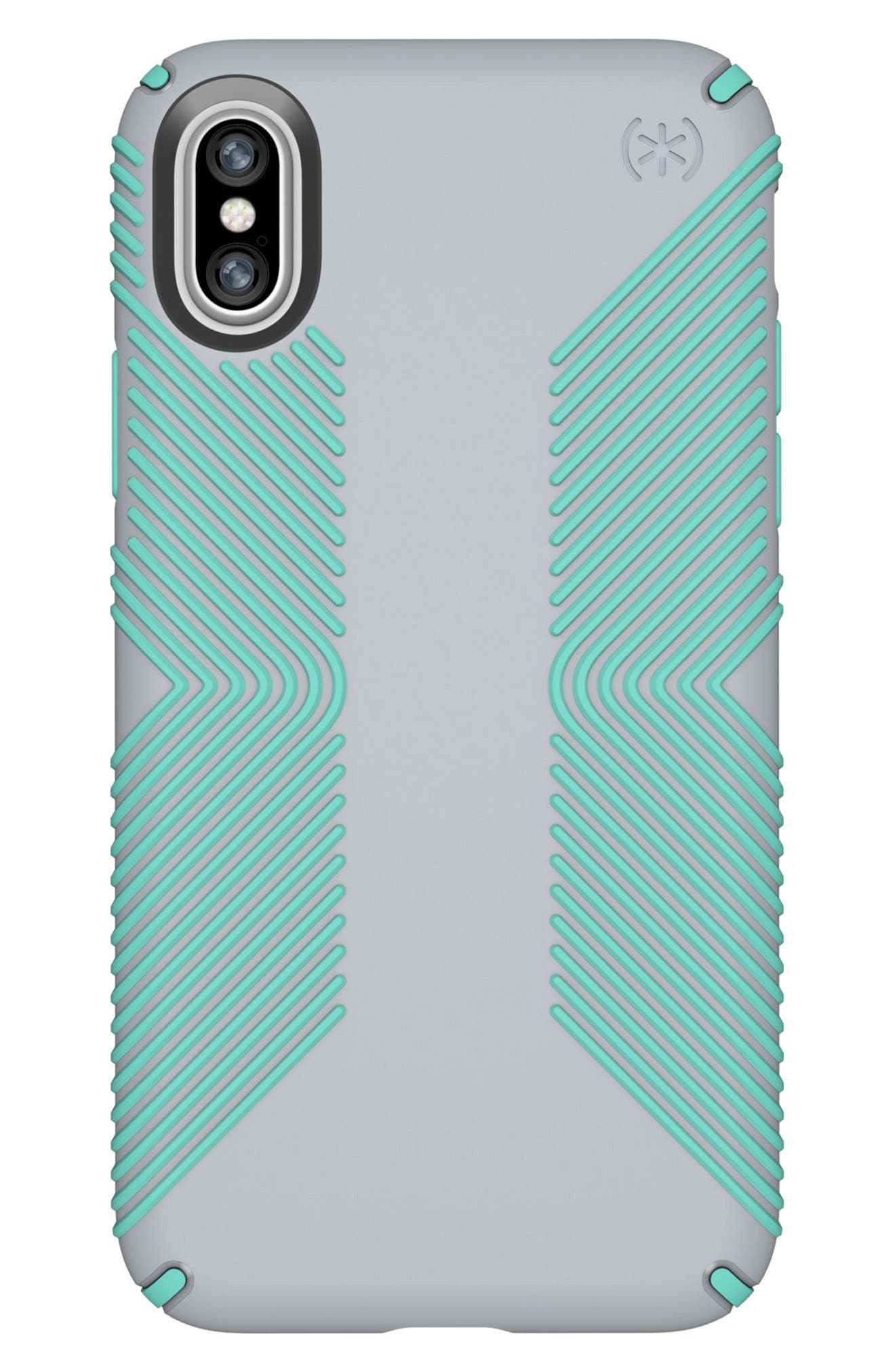 SPECK, iPhone X & Xs Case, Main thumbnail 1, color, DOLPHIN GREY/ ALOE GREEN