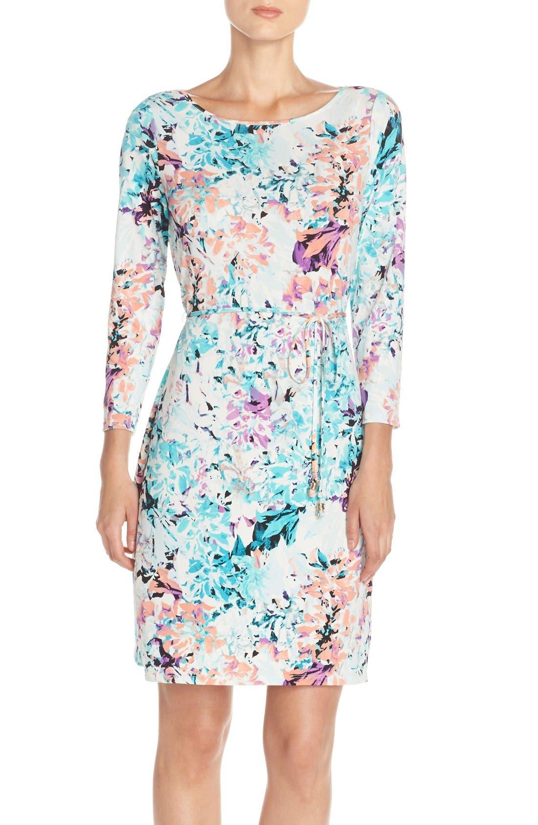 IVANKA TRUMP, Floral Print Jersey A-Line Dress, Main thumbnail 1, color, 101