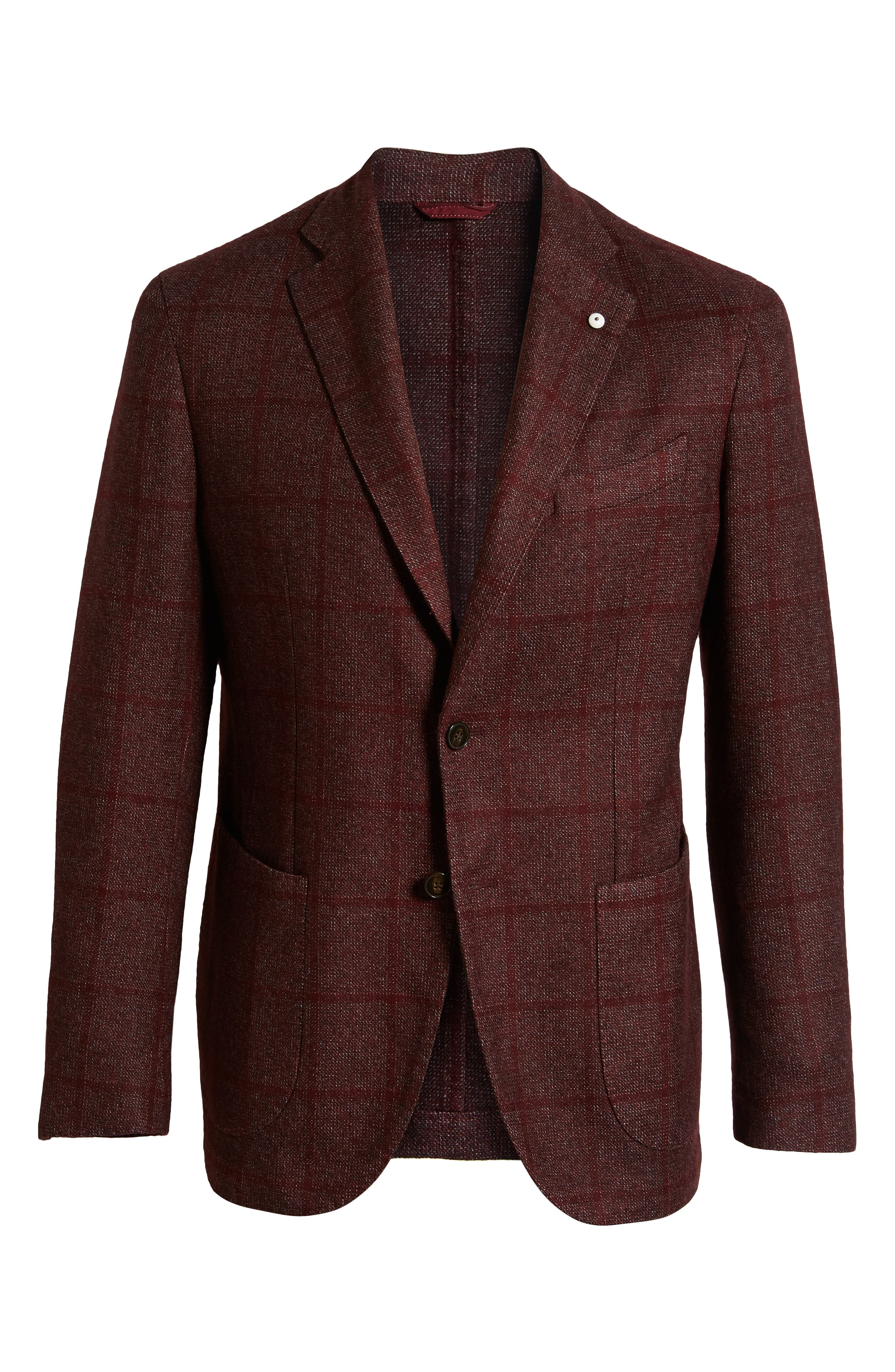 L.B.M. 1911, L.B.M 1911 Classic Fit Windowpane Wool Blend Sport Coat, Alternate thumbnail 5, color, RED