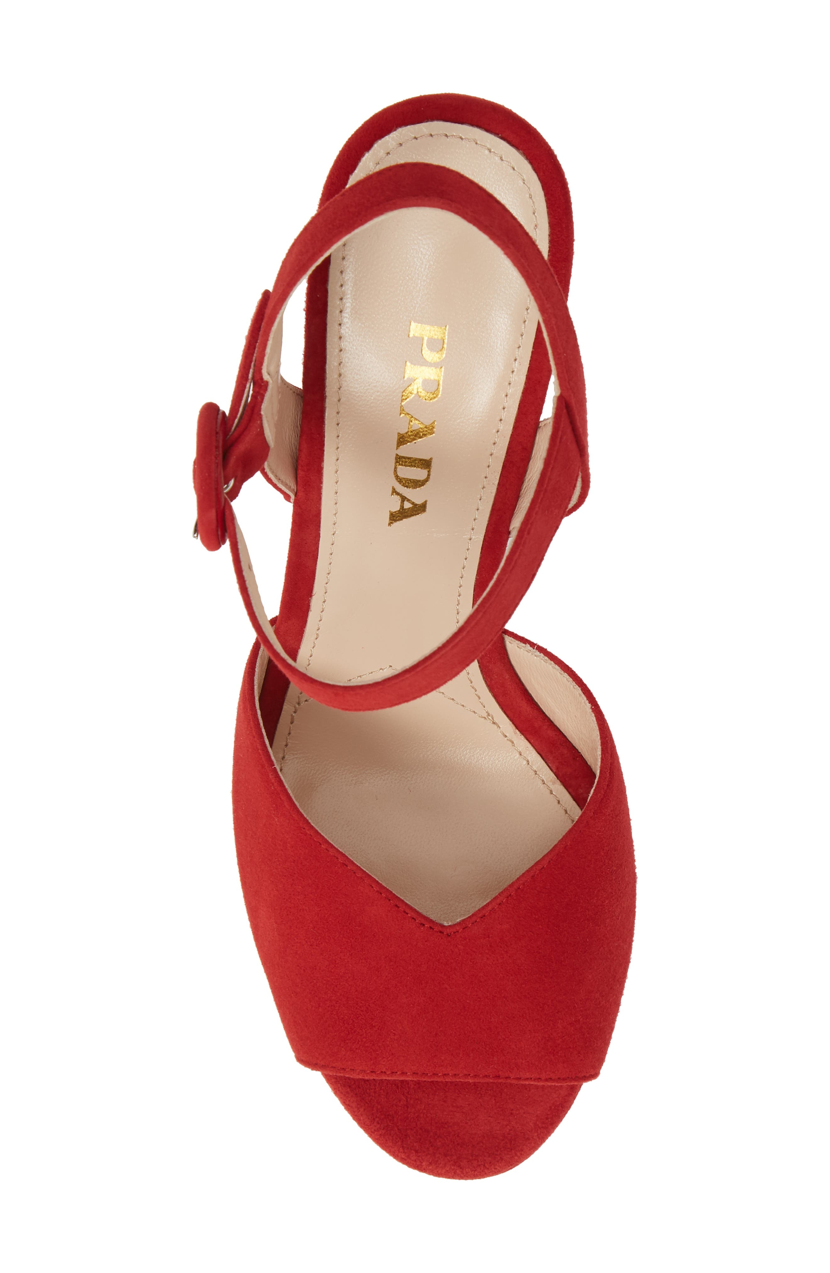 PRADA, Platform Sandal, Alternate thumbnail 5, color, RED SUEDE