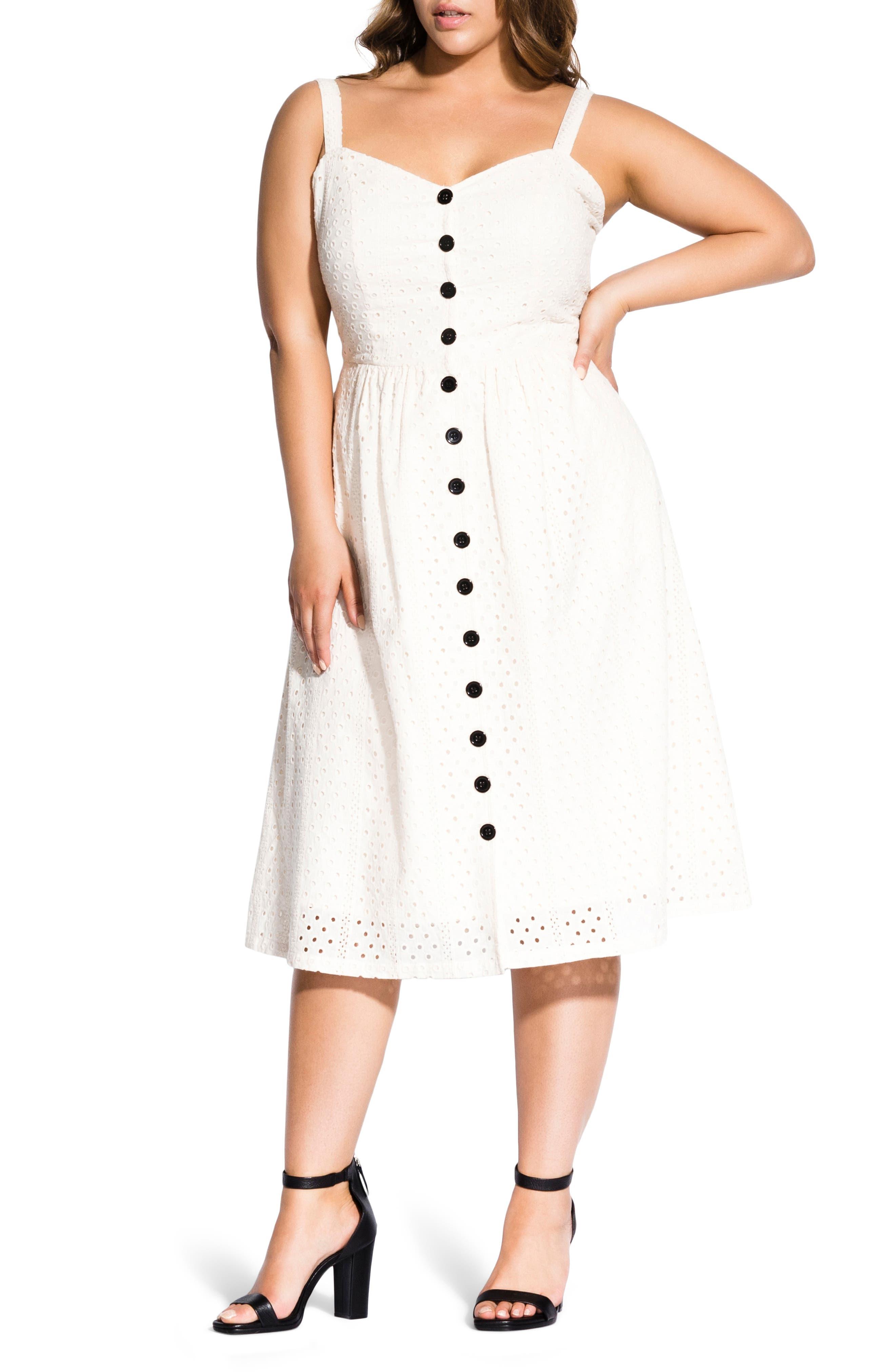 Plus Size City Chic Eyelet Love Dress, White