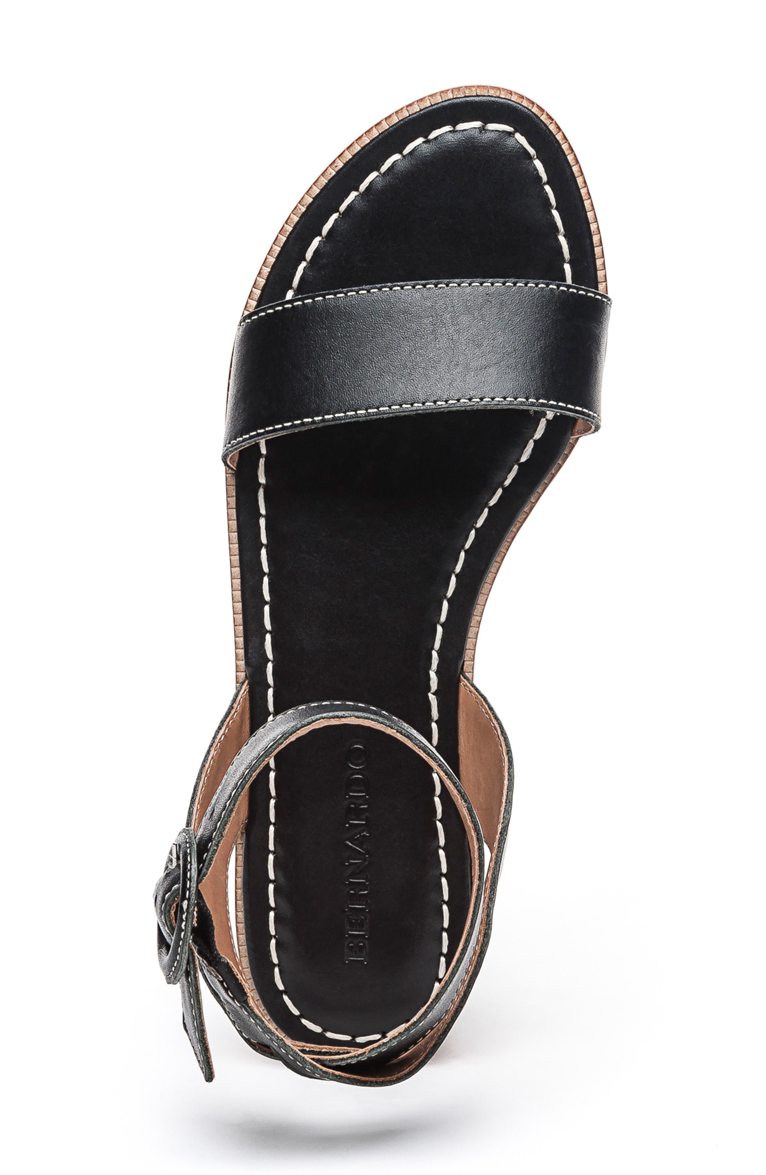 BERNARDO, Footwear Alexis Ankle Strap Sandal, Alternate thumbnail 5, color, BLACK