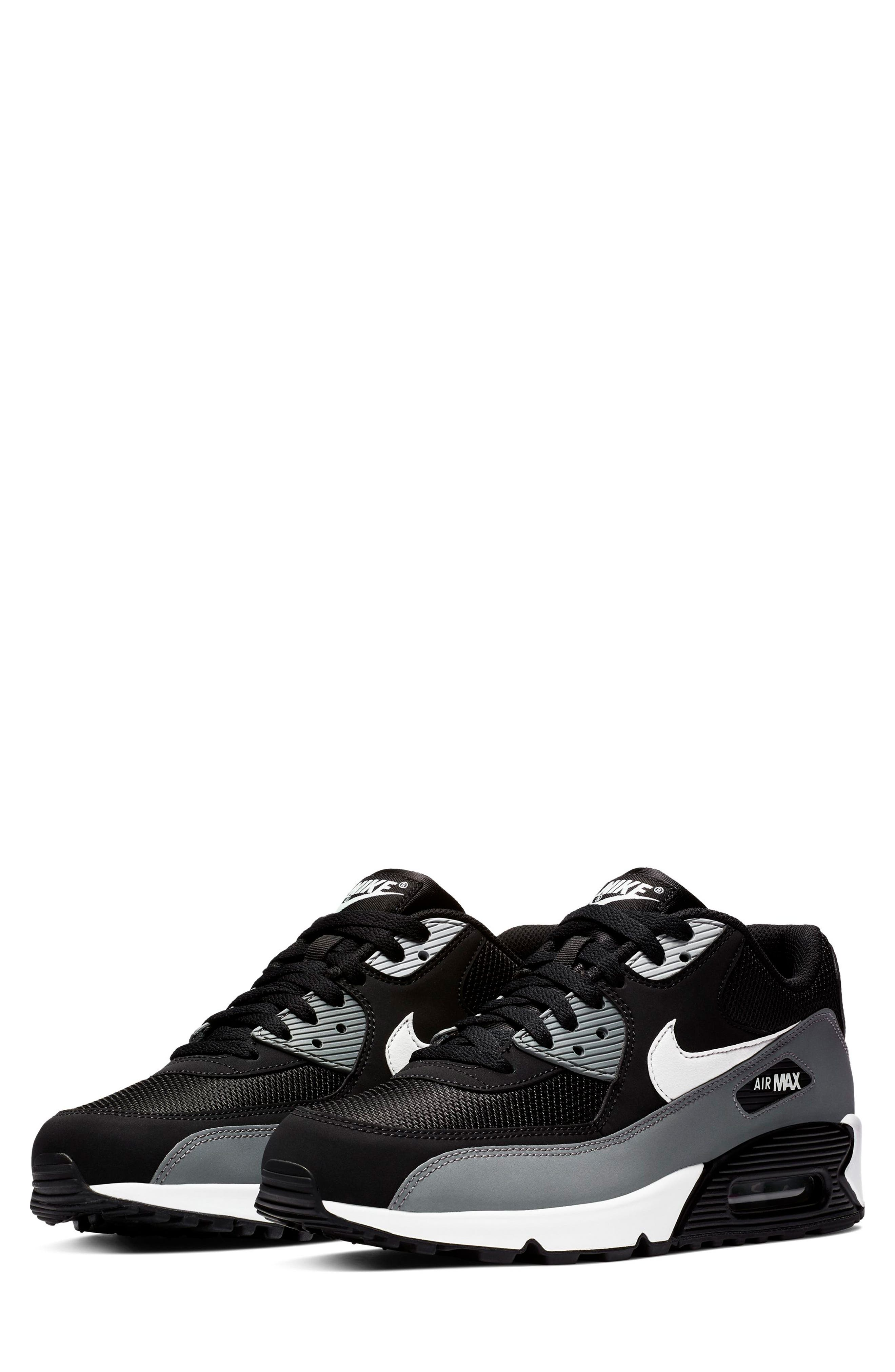 NIKE Air Max 90 Essential Sneaker, Main, color, BLACK/ WHITE/ COOL GREY