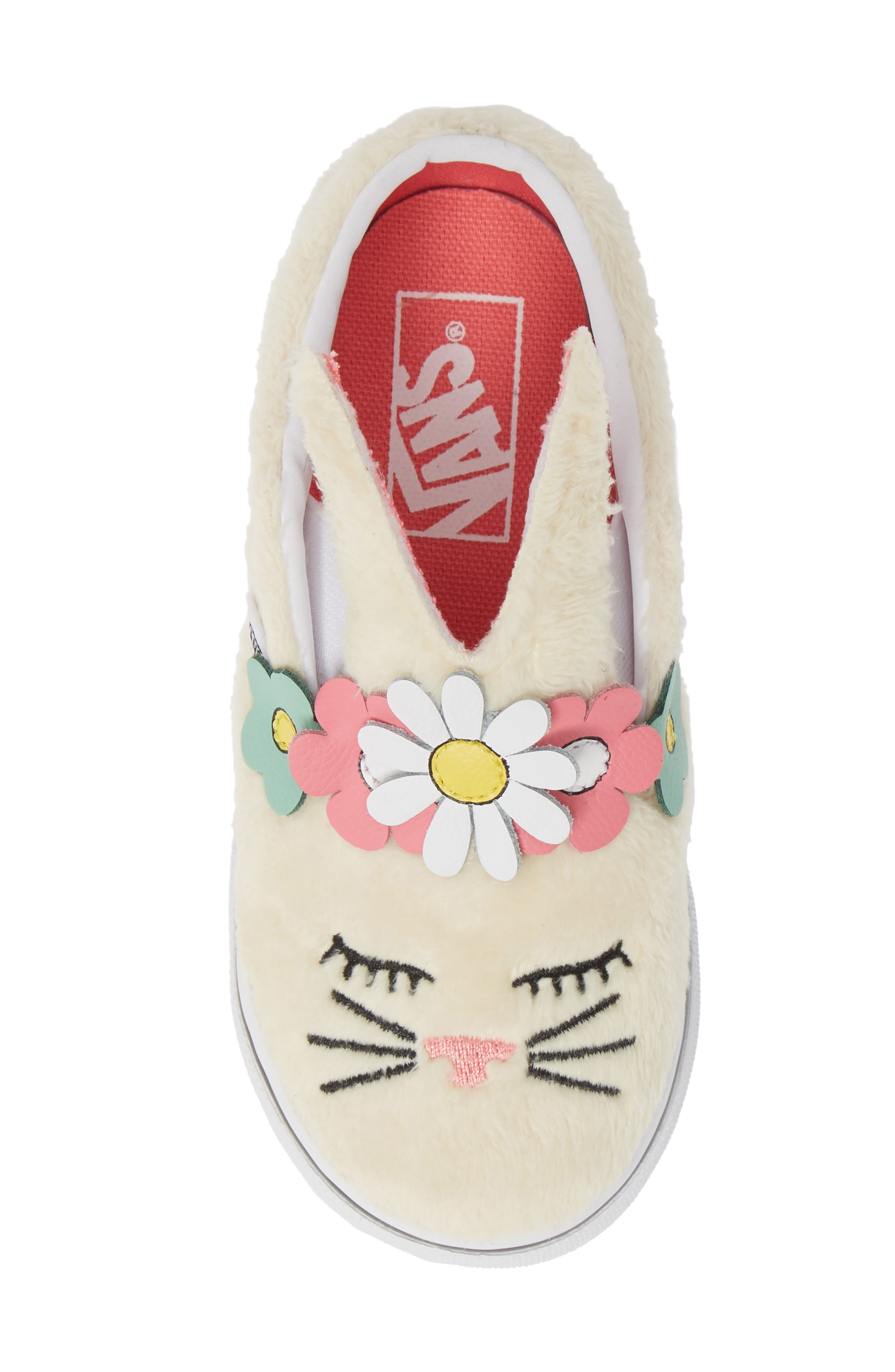 VANS, Slip-On Bunny Sneaker, Alternate thumbnail 5, color, VANILLA CUSTARD