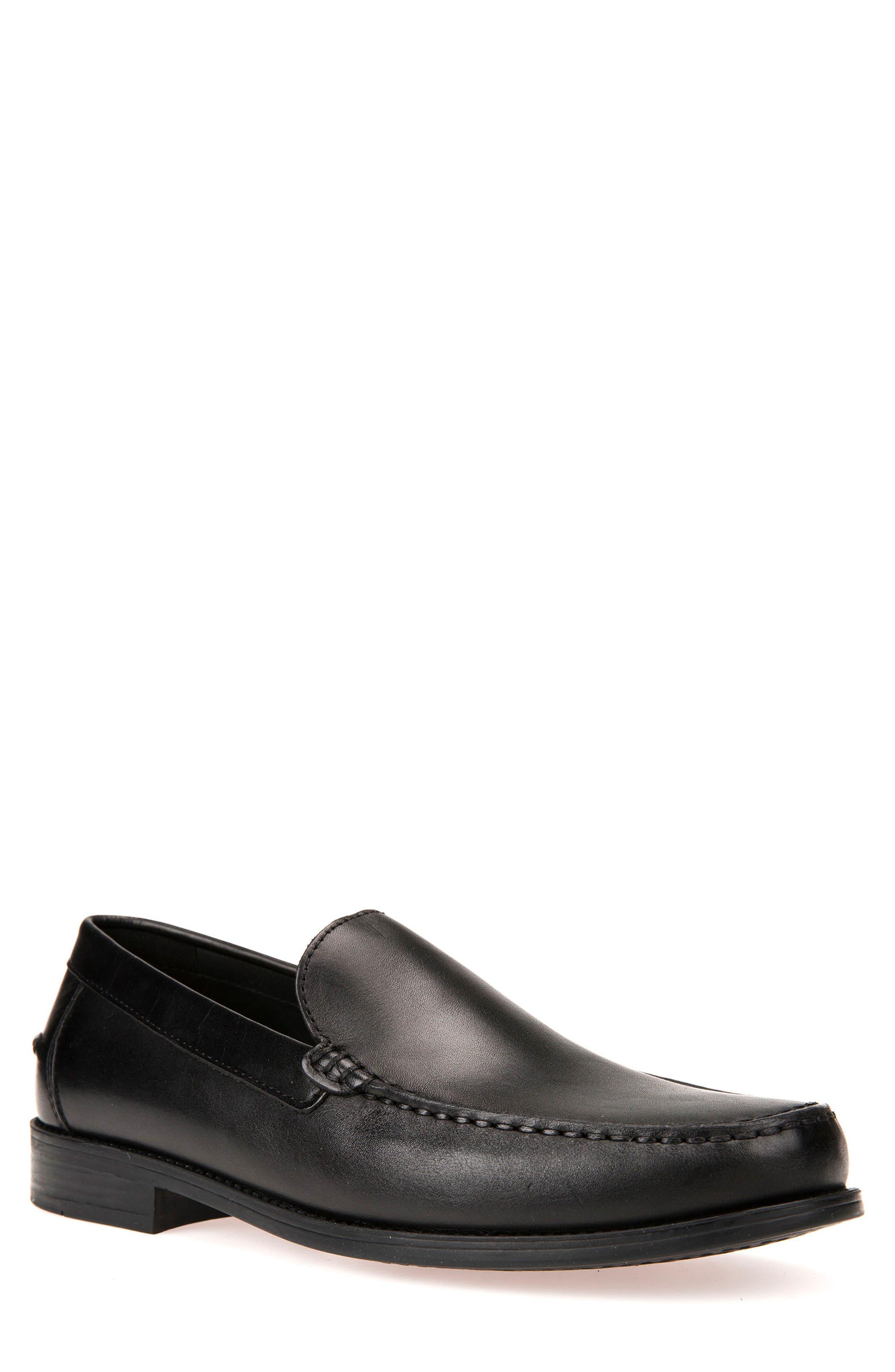 GEOX, New Damon 2 Venetian Slip-On Shoe, Main thumbnail 1, color, BLACK LEATHER