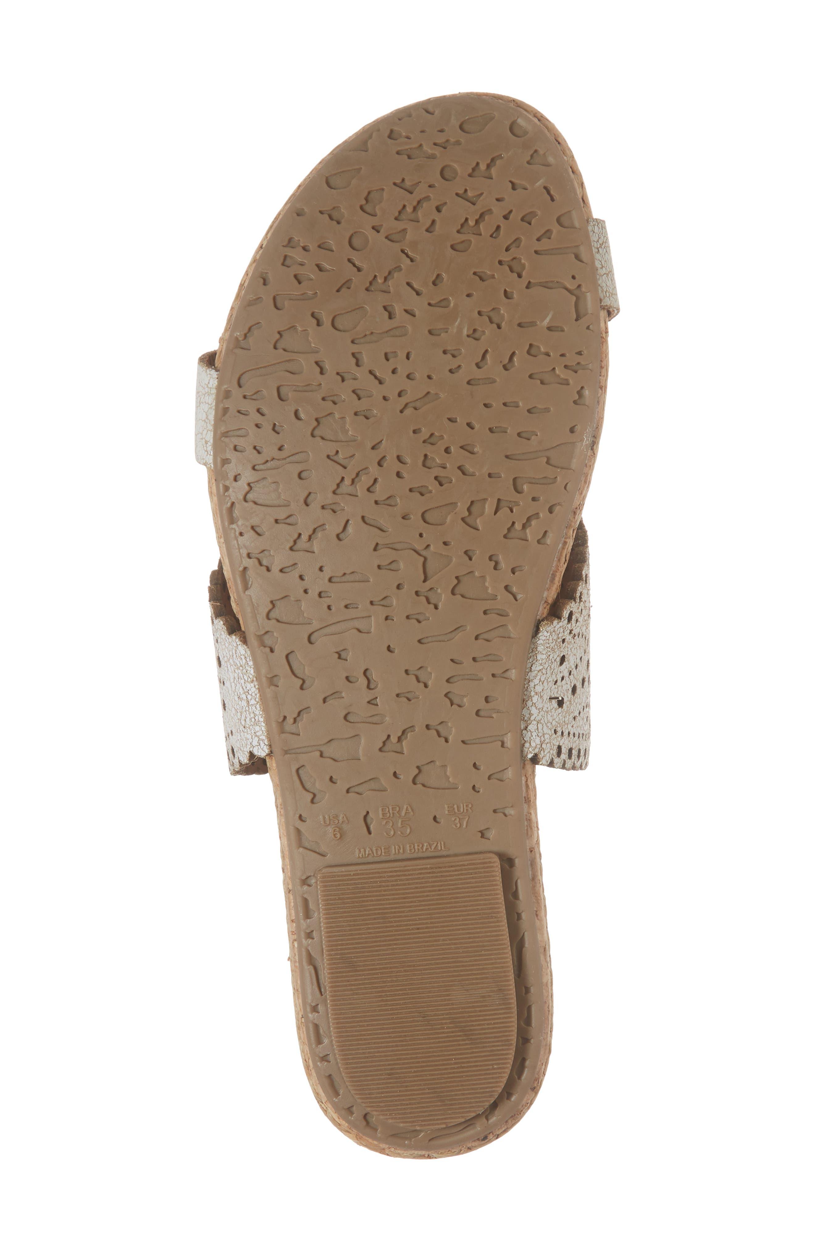 KLUB NICO, Ginette Perforated Slide Sandal, Alternate thumbnail 6, color, WHITE LEATHER