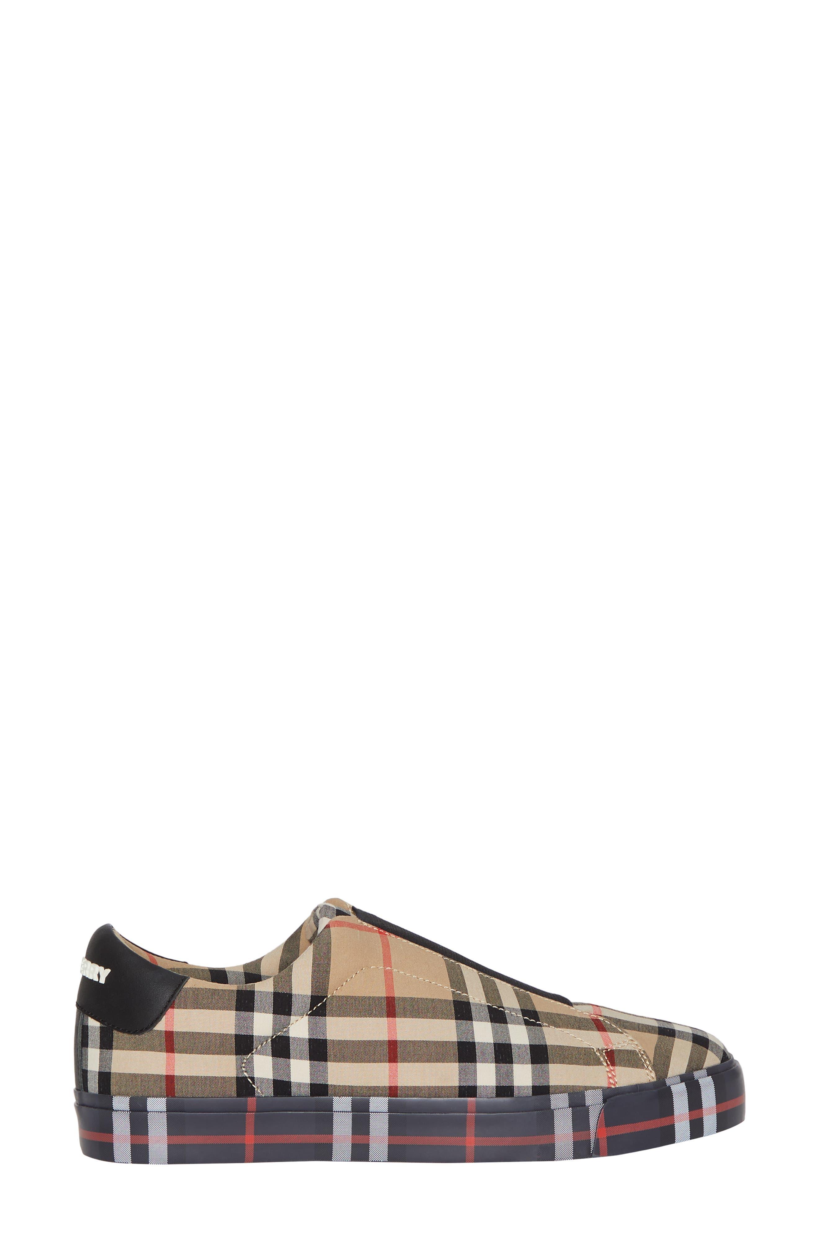 BURBERRY, Markham Vintage Check Slip-On Sneaker, Alternate thumbnail 3, color, BEIGE PLAID