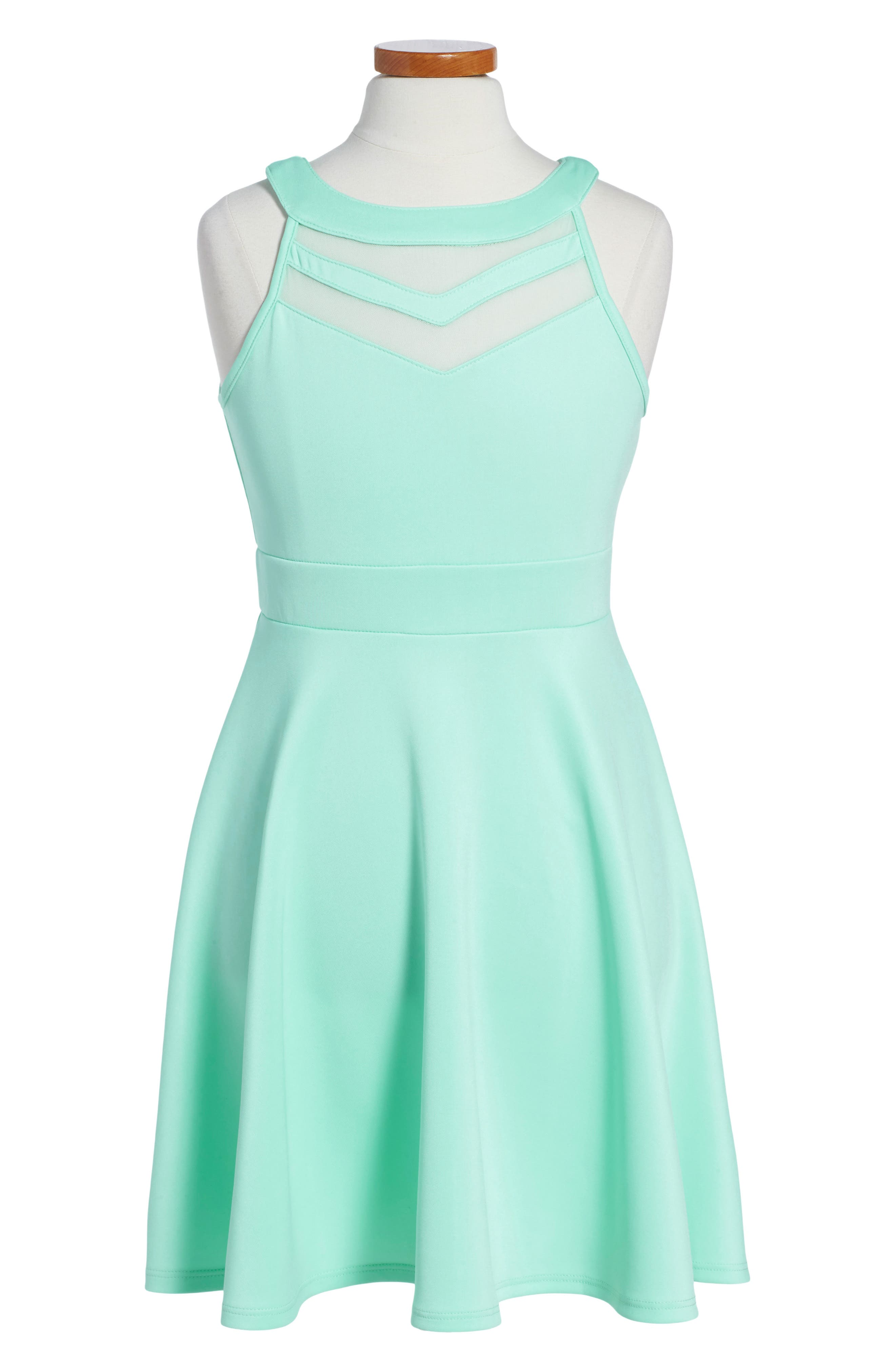 LOVE, NICKIE LEW, Mesh Inset Party Dress, Main thumbnail 1, color, MINT