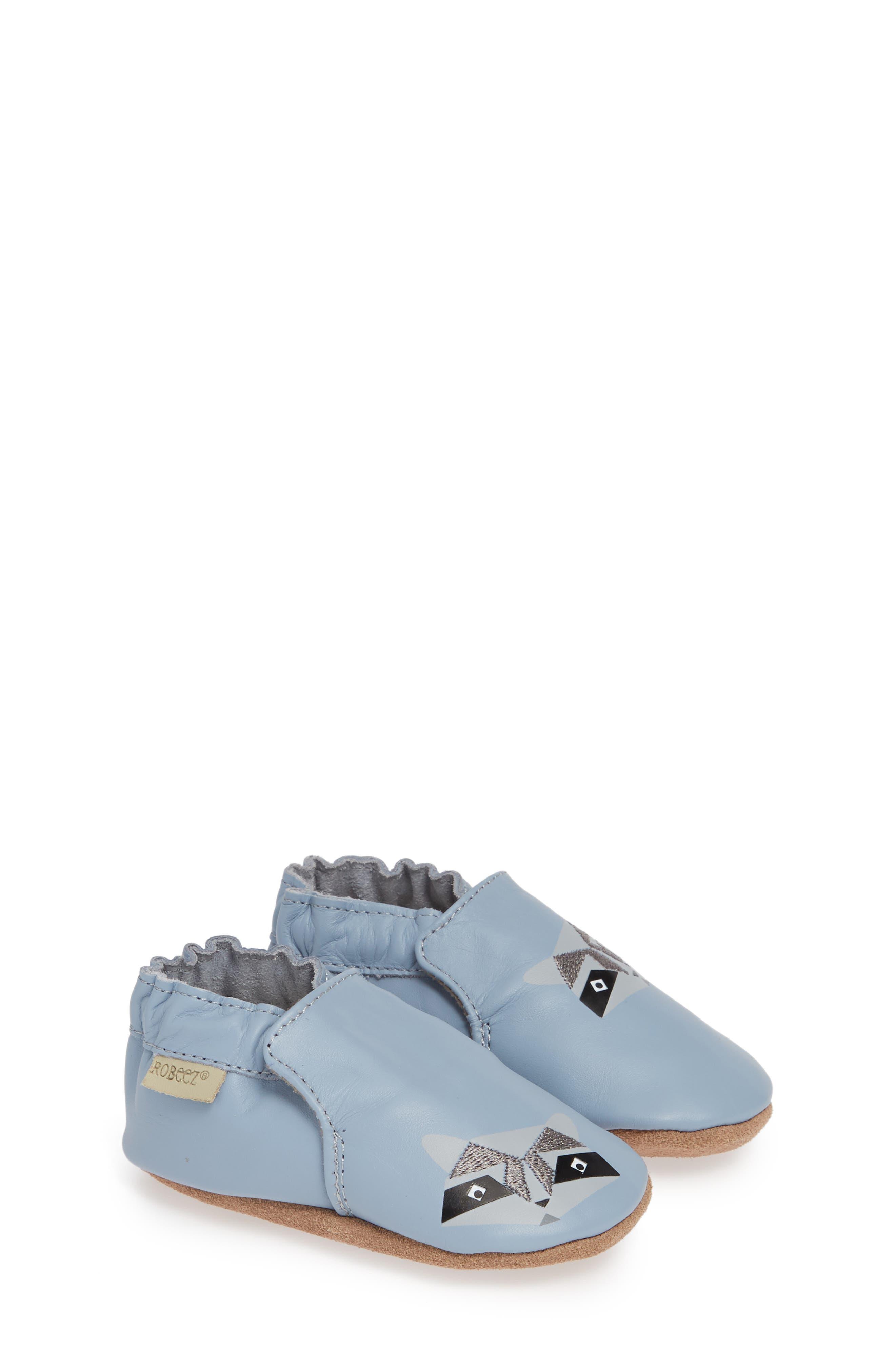 ROBEEZ<SUP>®</SUP>, Raccoon Buddies Crib Shoe, Main thumbnail 1, color, BLUE