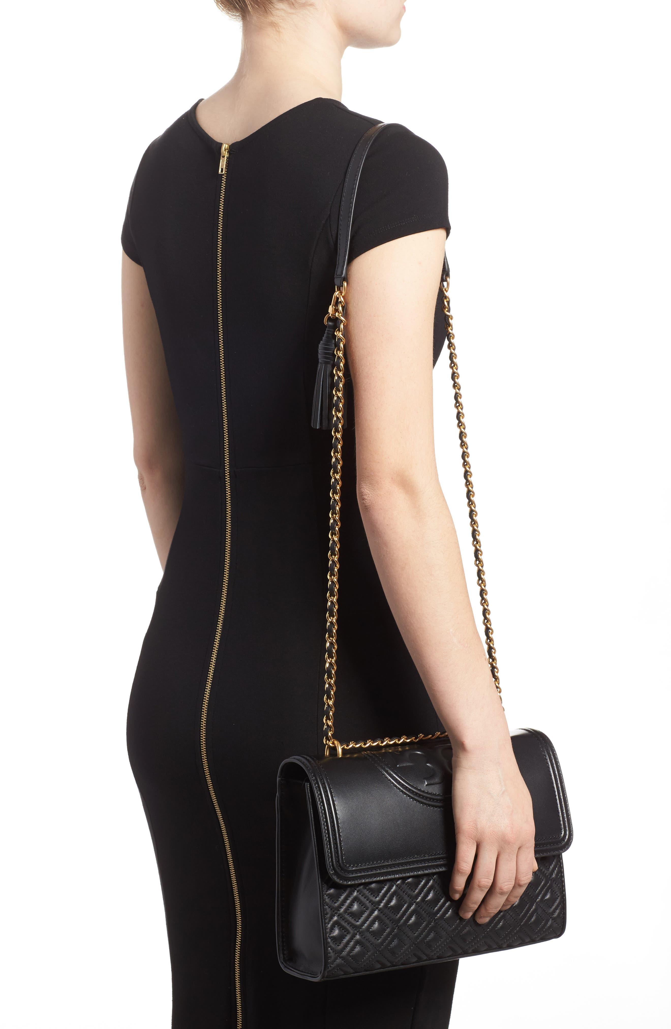 TORY BURCH, Fleming Leather Convertible Shoulder Bag, Alternate thumbnail 2, color, BLACK