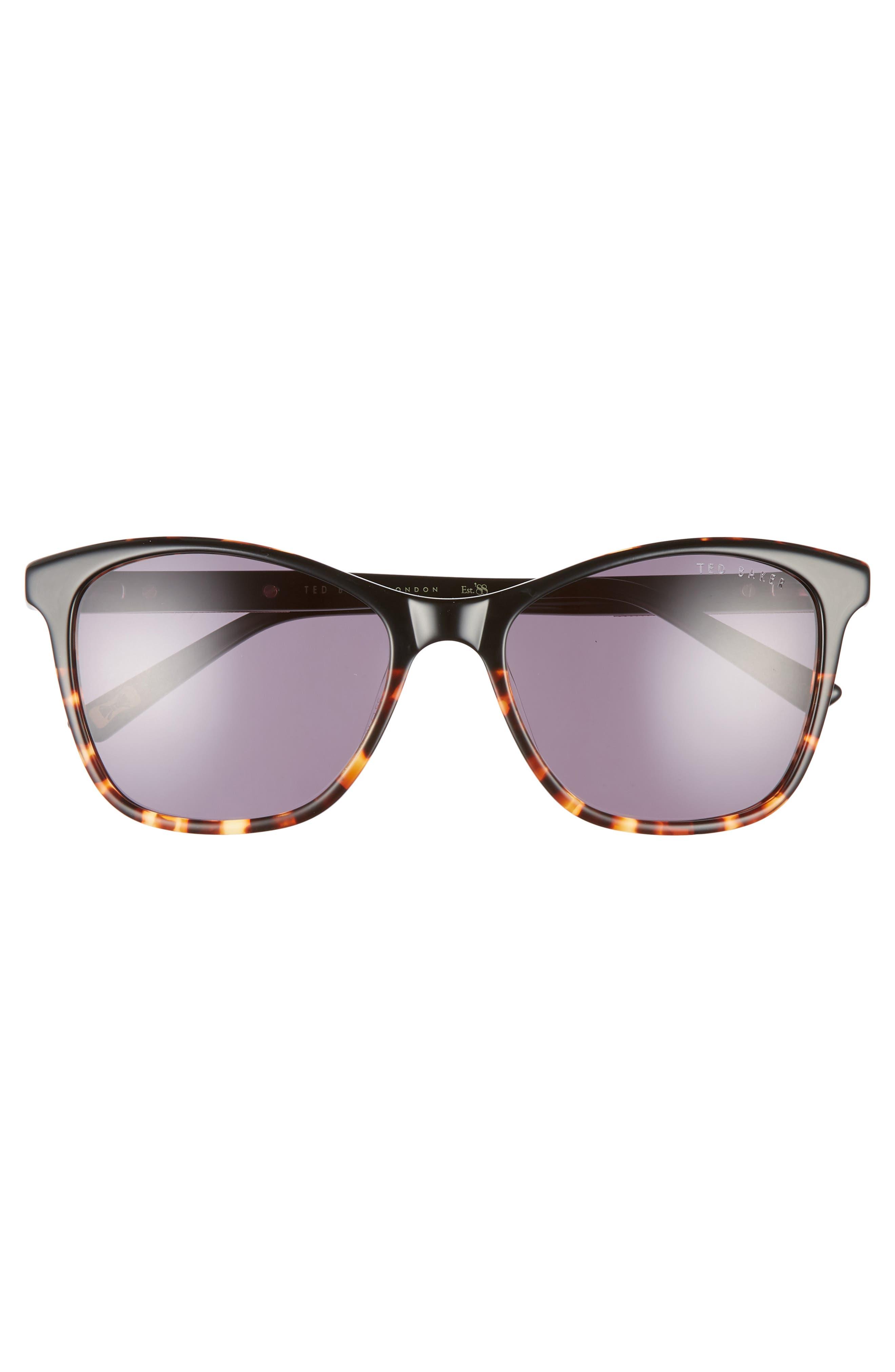 TED BAKER LONDON, 55mm Square Cat Eye Sunglasses, Alternate thumbnail 3, color, BLACK HAVANA/ GOLD/ PURPLE