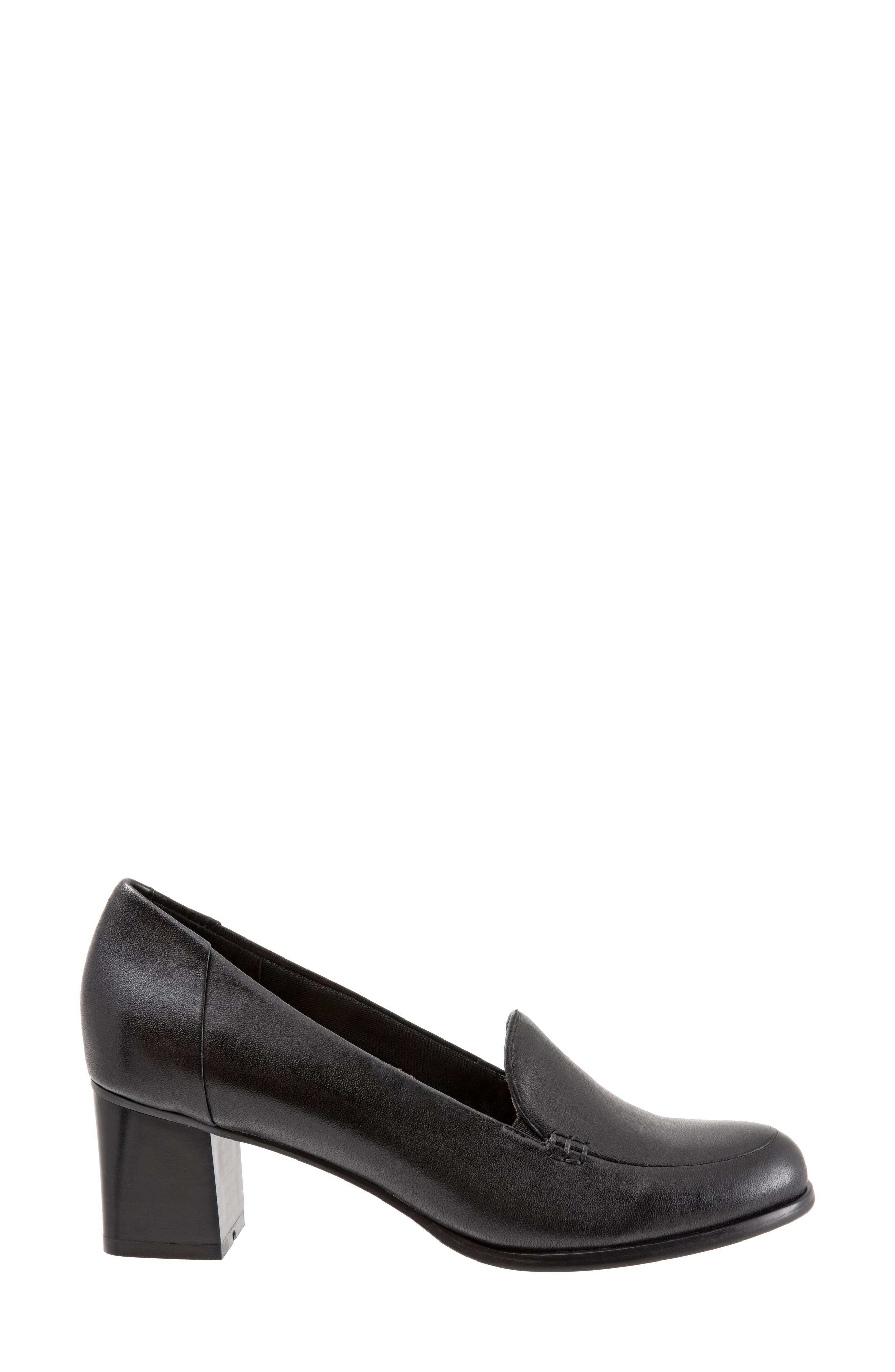 TROTTERS, Quincy Loafer Pump, Alternate thumbnail 3, color, BLACK LEATHER
