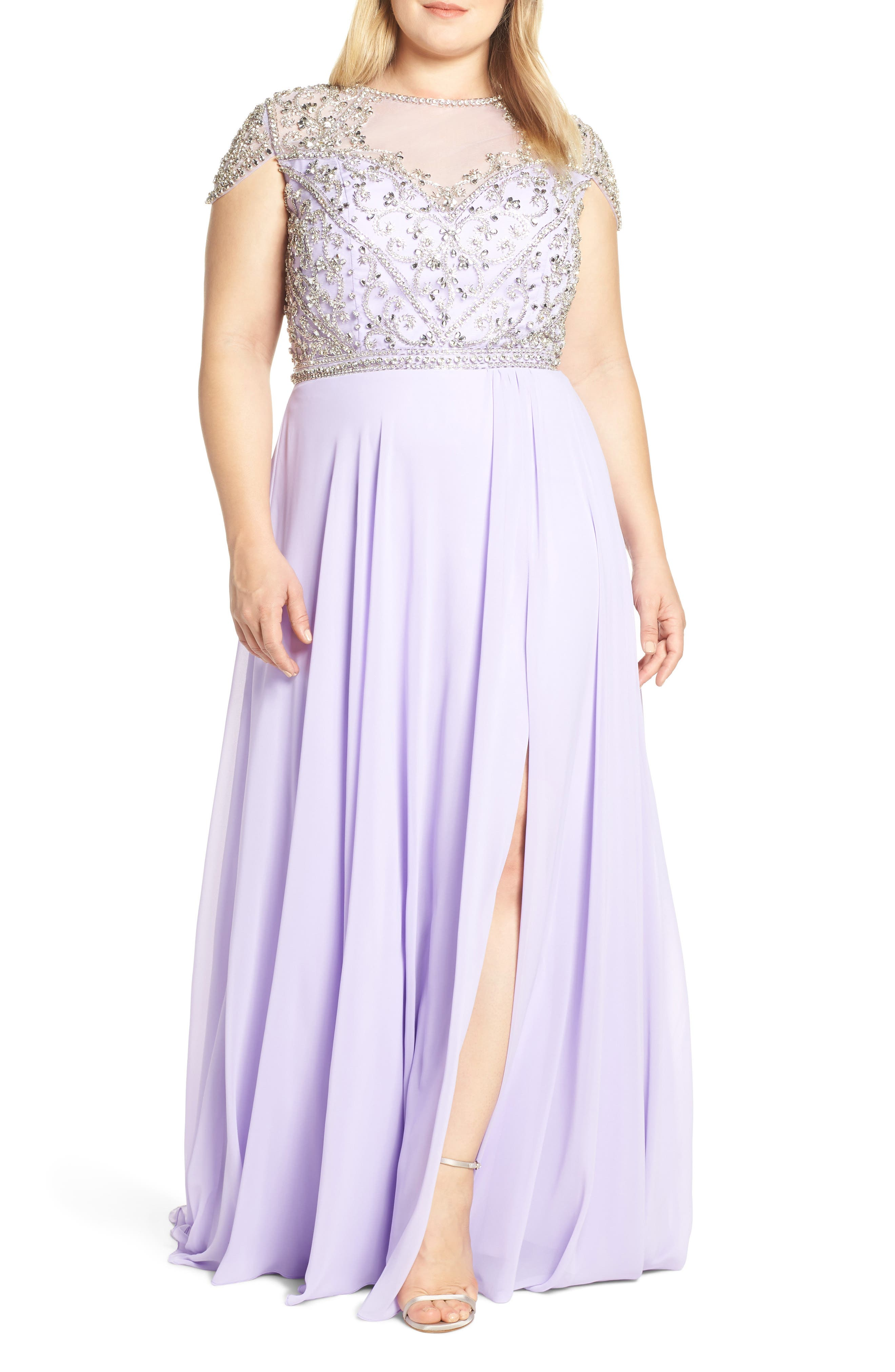 Plus Size MAC Duggal Embellished Bodice Evening Dress, Purple