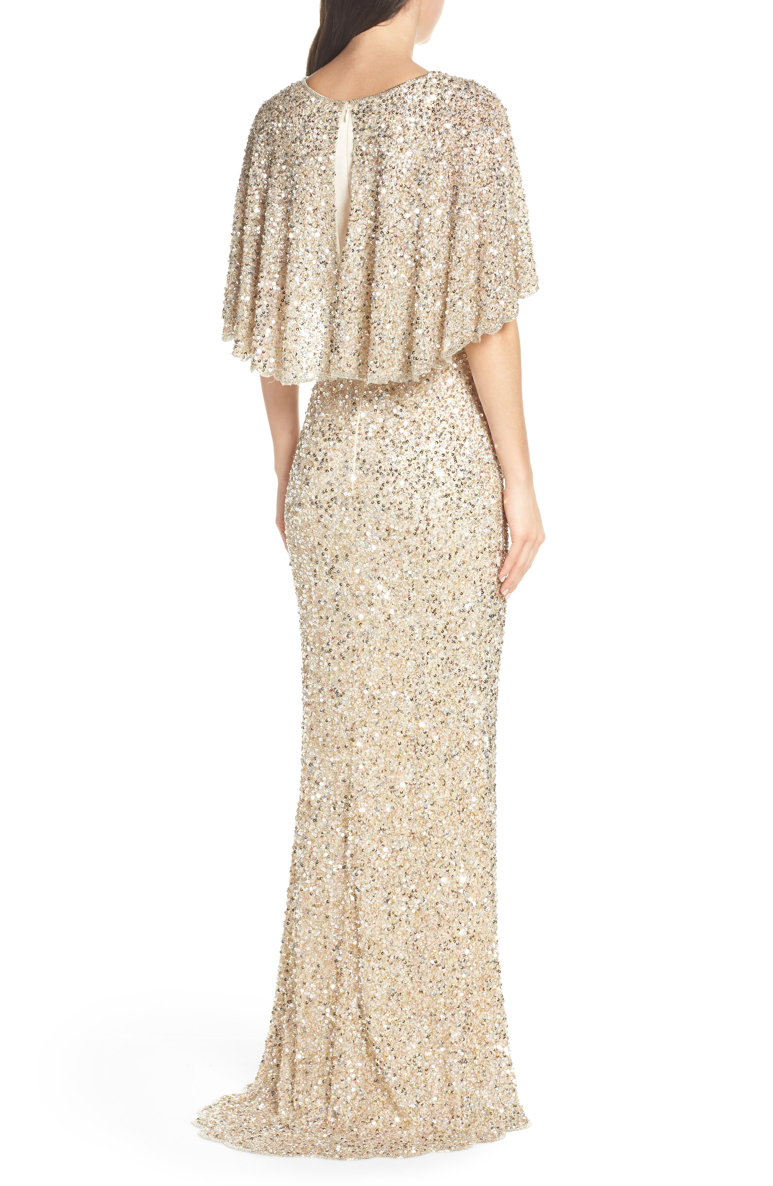 MAC DUGGAL, Beaded Capelet Sleeve Evening Dress, Alternate thumbnail 2, color, NUDE/ GOLD