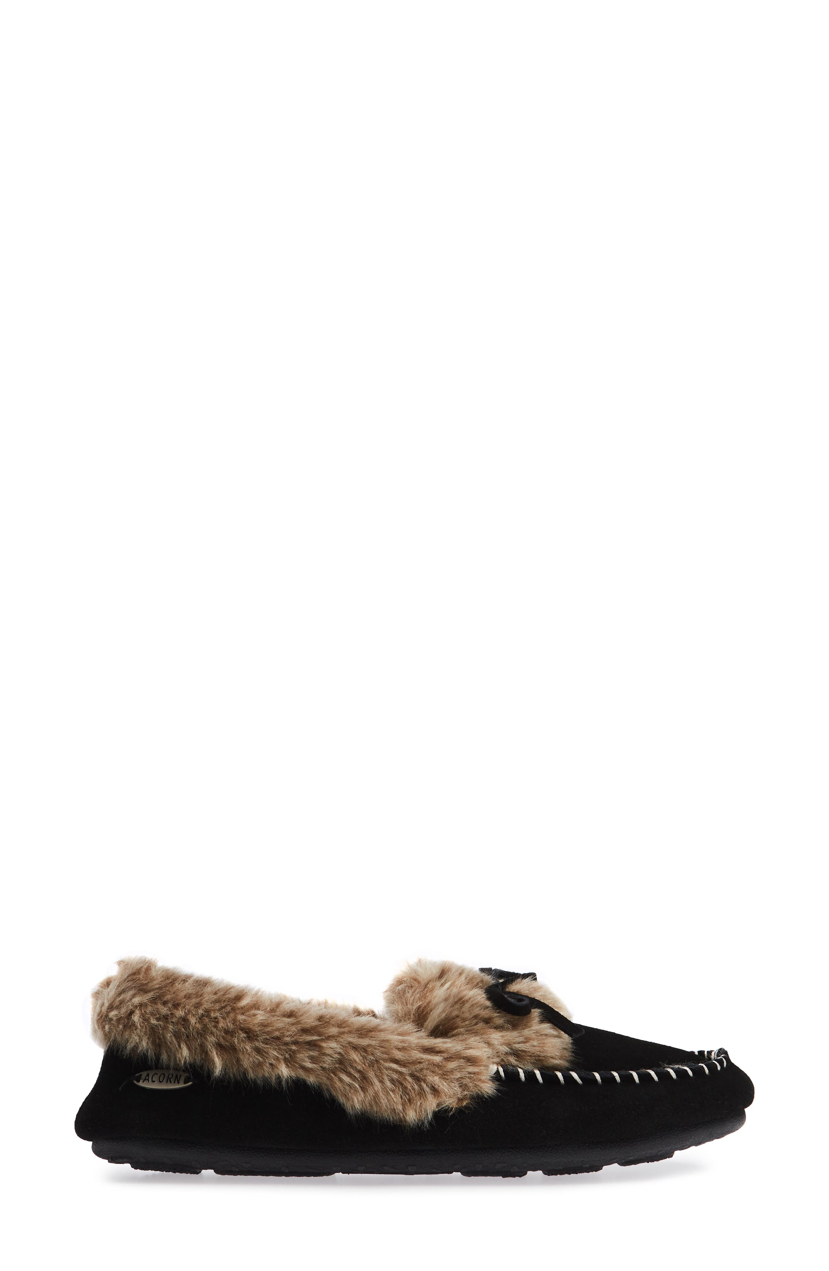 ACORN, Faux Fur Trim Moccasin Indoor/Outdoor Slipper, Alternate thumbnail 3, color, BLACK SUEDE