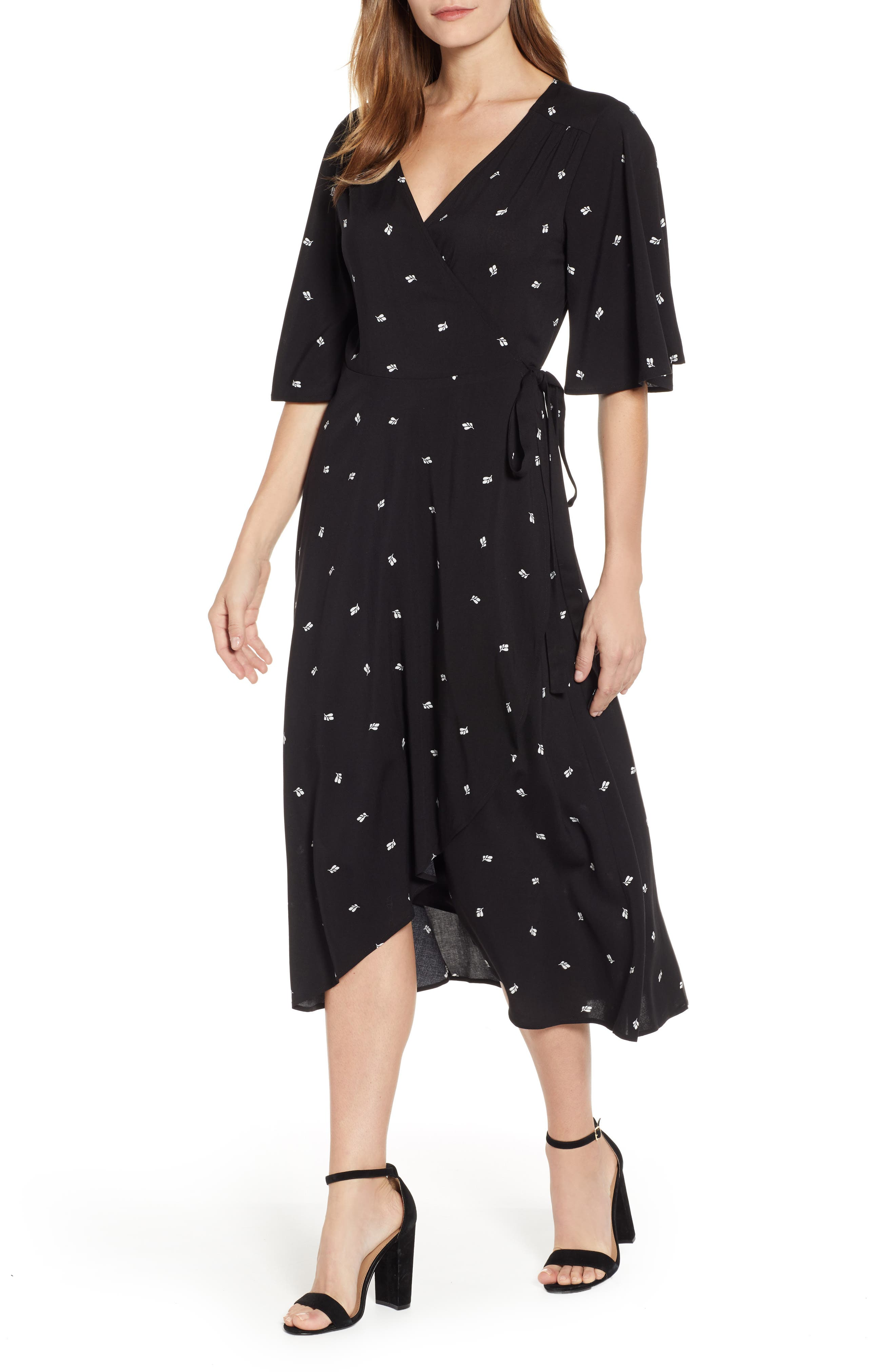 BOBEAU, Orna High/Low Wrap Dress, Main thumbnail 1, color, BLACK LEAF PRINT